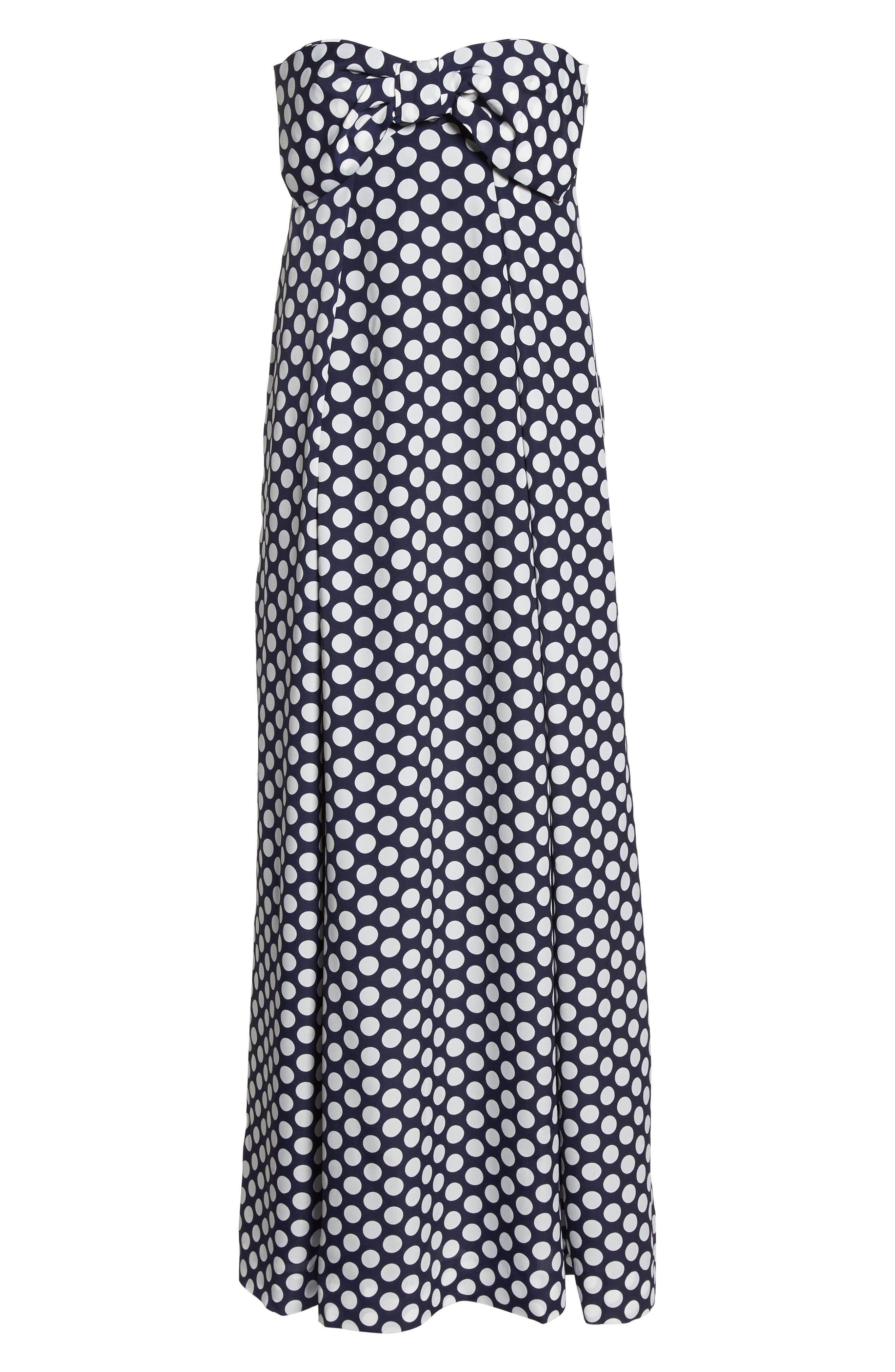 Strapless Dot Tie Front Maxi Dress,                             Alternate thumbnail 7, color,                             400