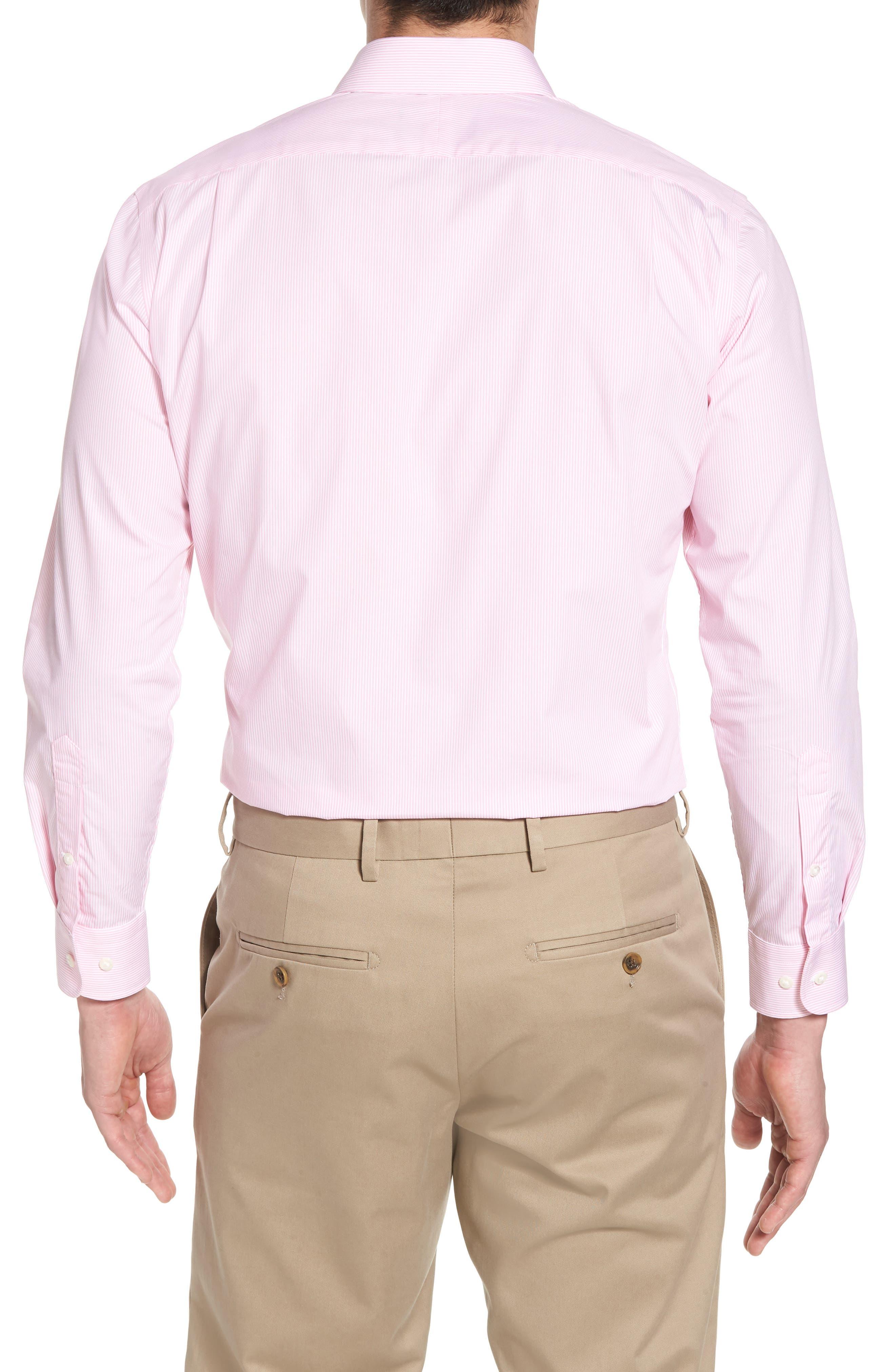 Trim Fit Non-Iron Stripe Dress Shirt,                             Alternate thumbnail 18, color,