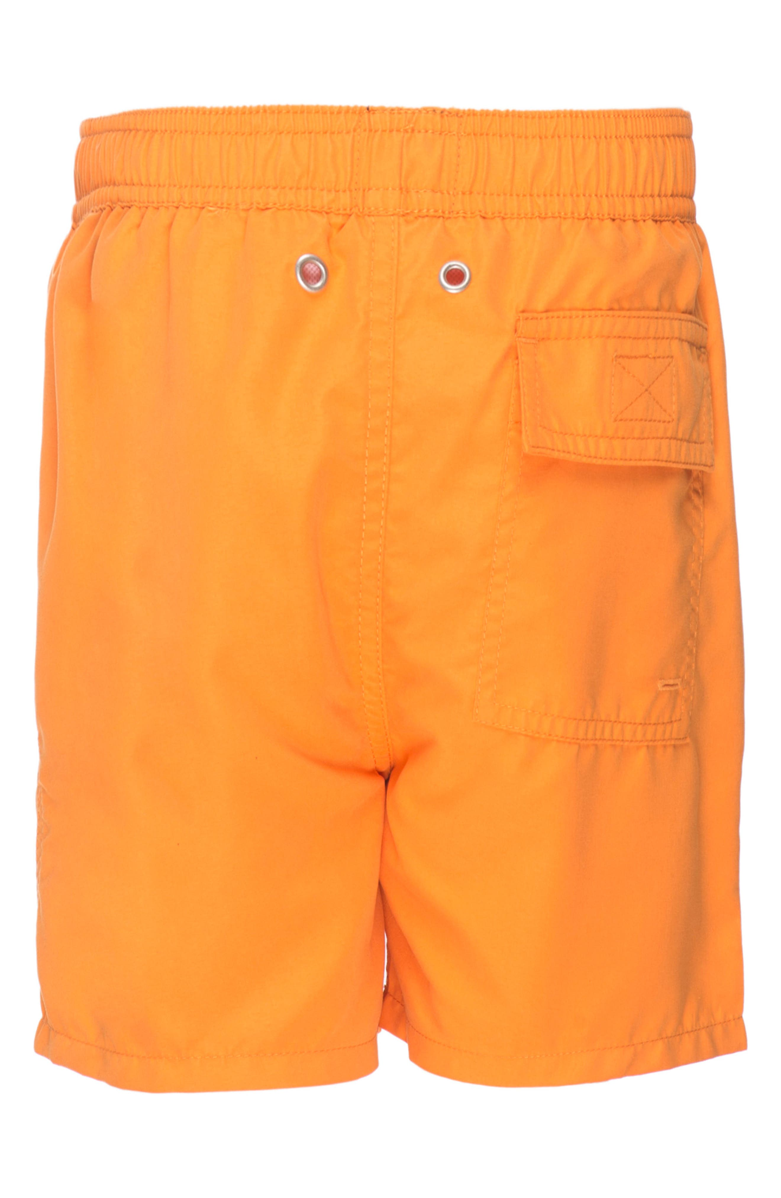 Solid Swim Trunks,                             Alternate thumbnail 4, color,                             BAKED ORANGE