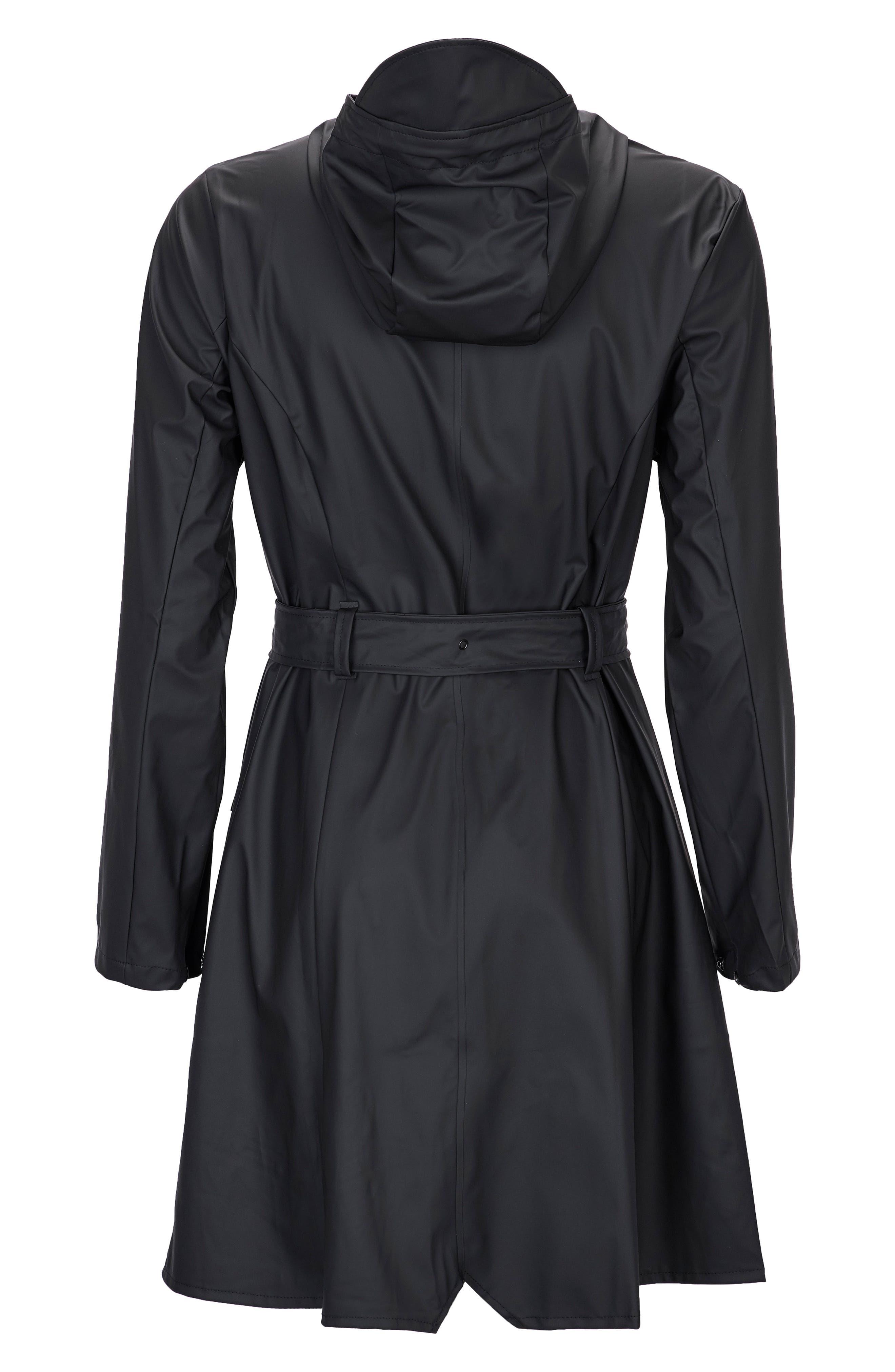 Curve Waterproof Hooded Rain Jacket,                             Alternate thumbnail 4, color,                             BLACK
