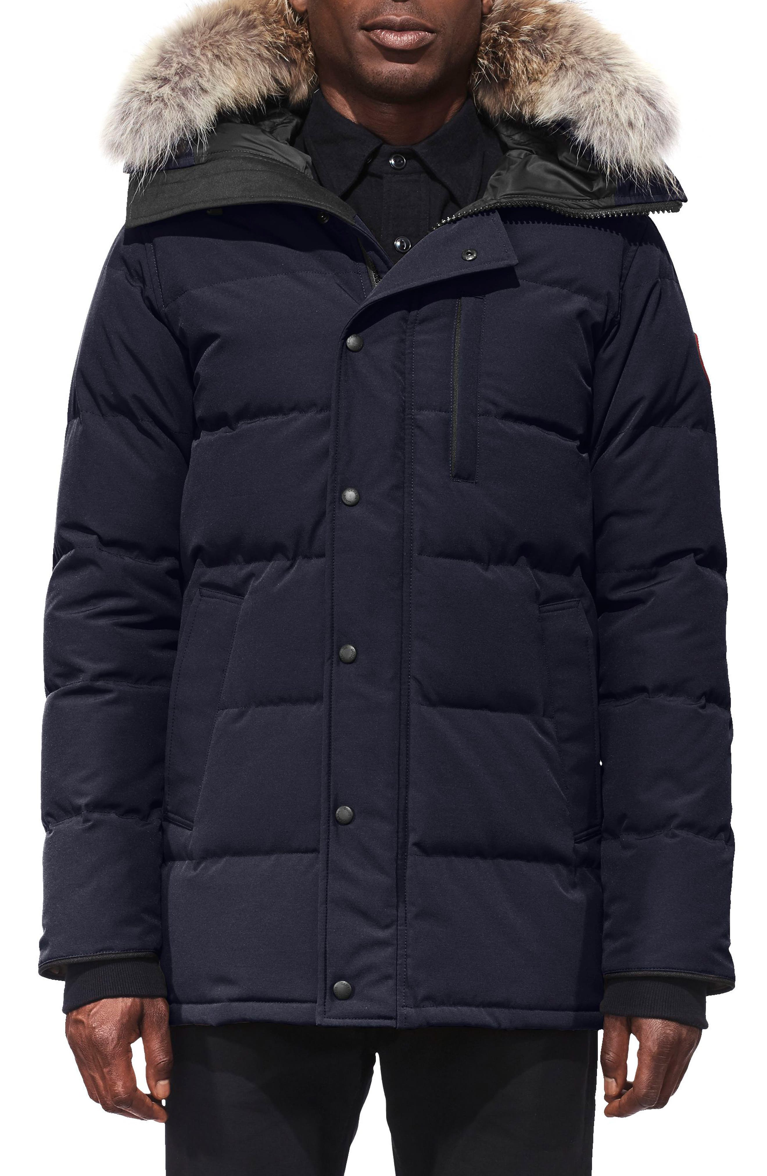 Canada Goose Carson Fusion Fit Hooded Down Parka With Genuine Coyote Fur Trim, Blue