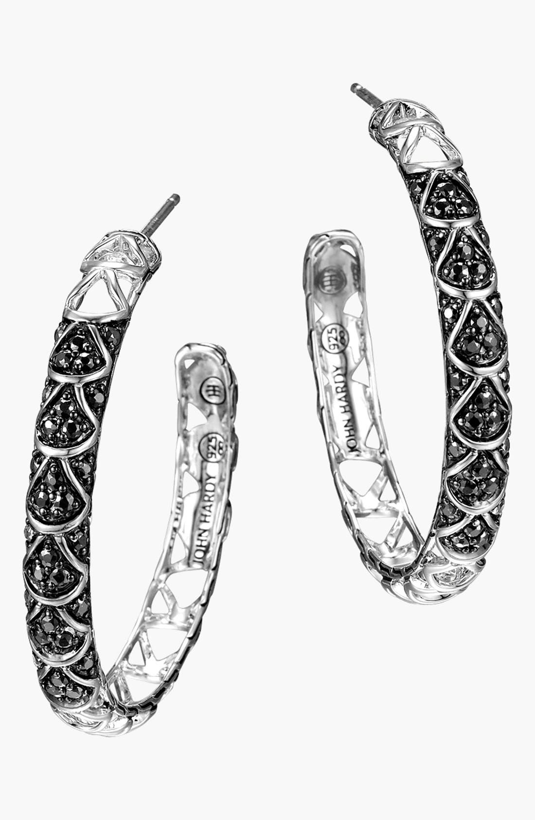 'Naga - Lava' Hoop Earrings,                             Main thumbnail 1, color,                             SILVER/ BLACK SAPPHIRE