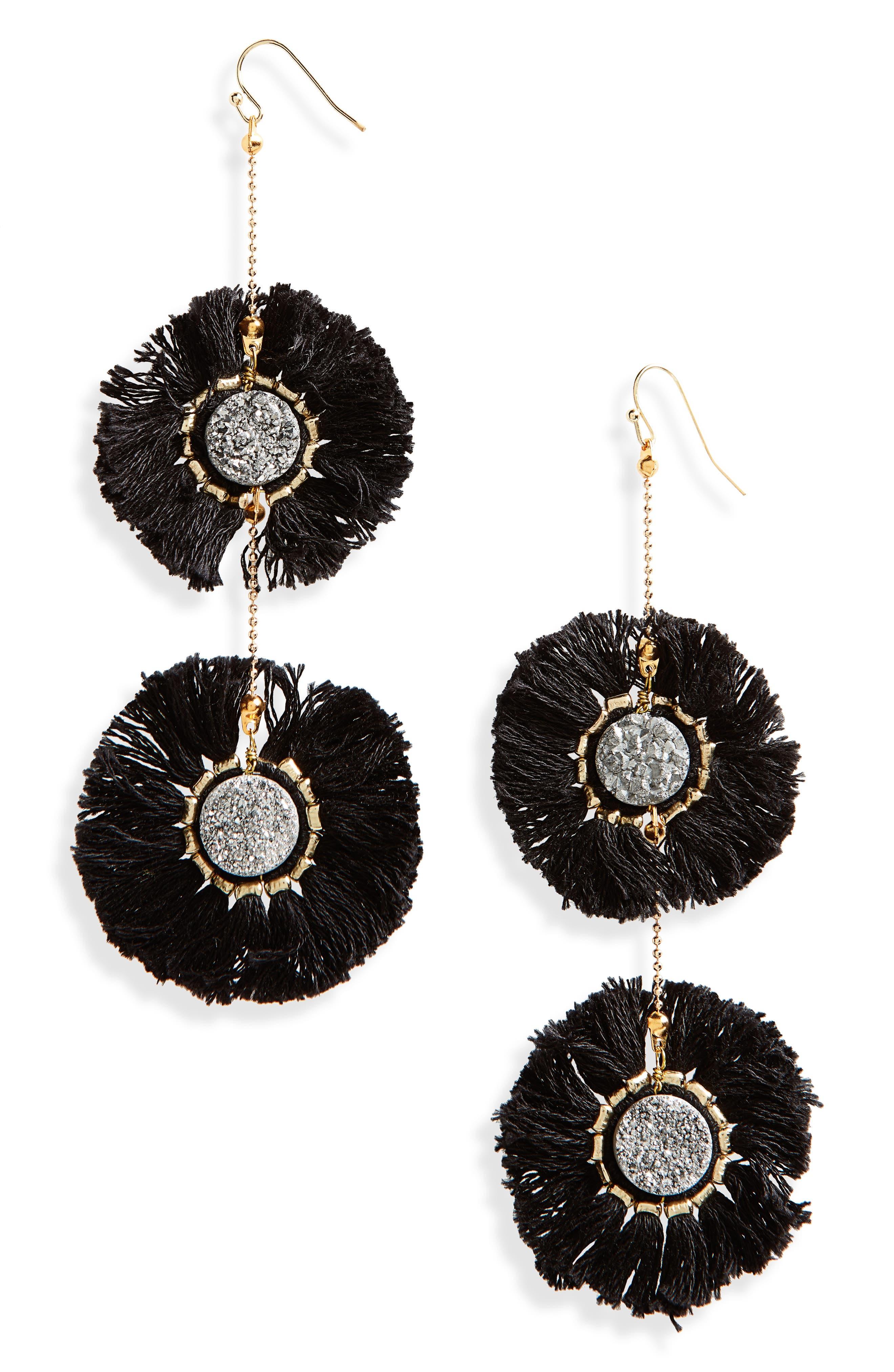 Fringe Circle Earrings,                         Main,                         color, 001