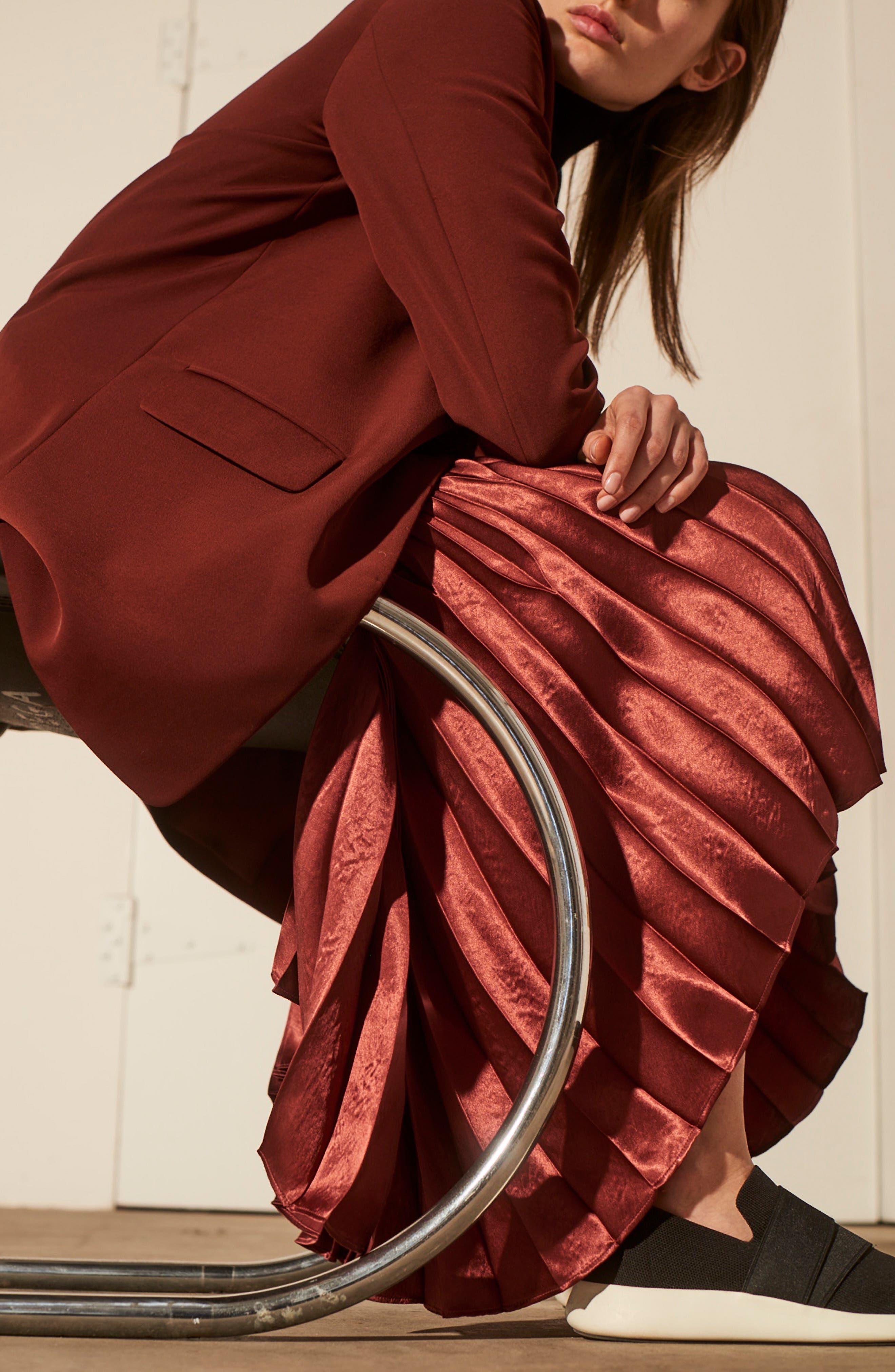 Chevron Pleated Satin Skirt,                             Alternate thumbnail 7, color,                             ANISE