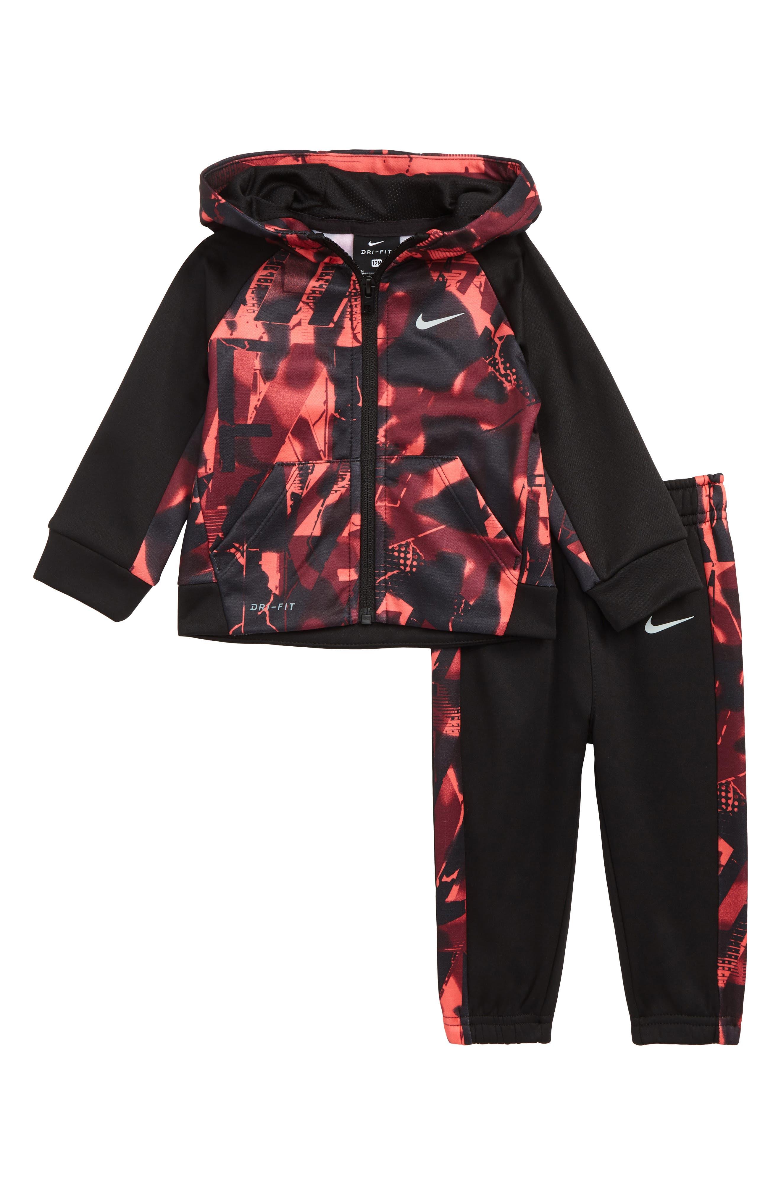 NIKE Dry Therma Legacy Zip Hoodie & Pants Set, Main, color, BLACK