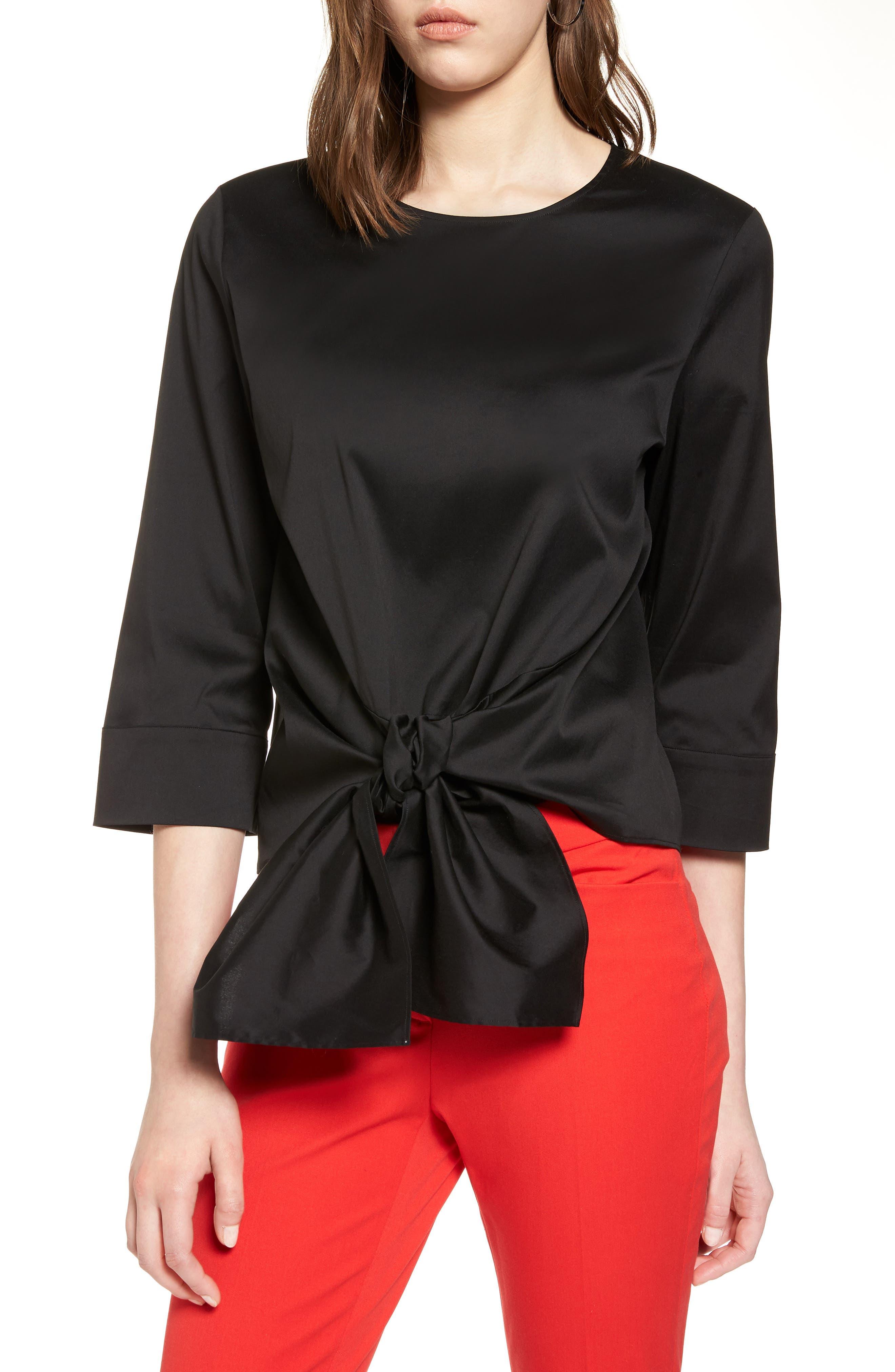 HALOGEN<SUP>®</SUP>,                             Tie Front Blouse,                             Main thumbnail 1, color,                             001
