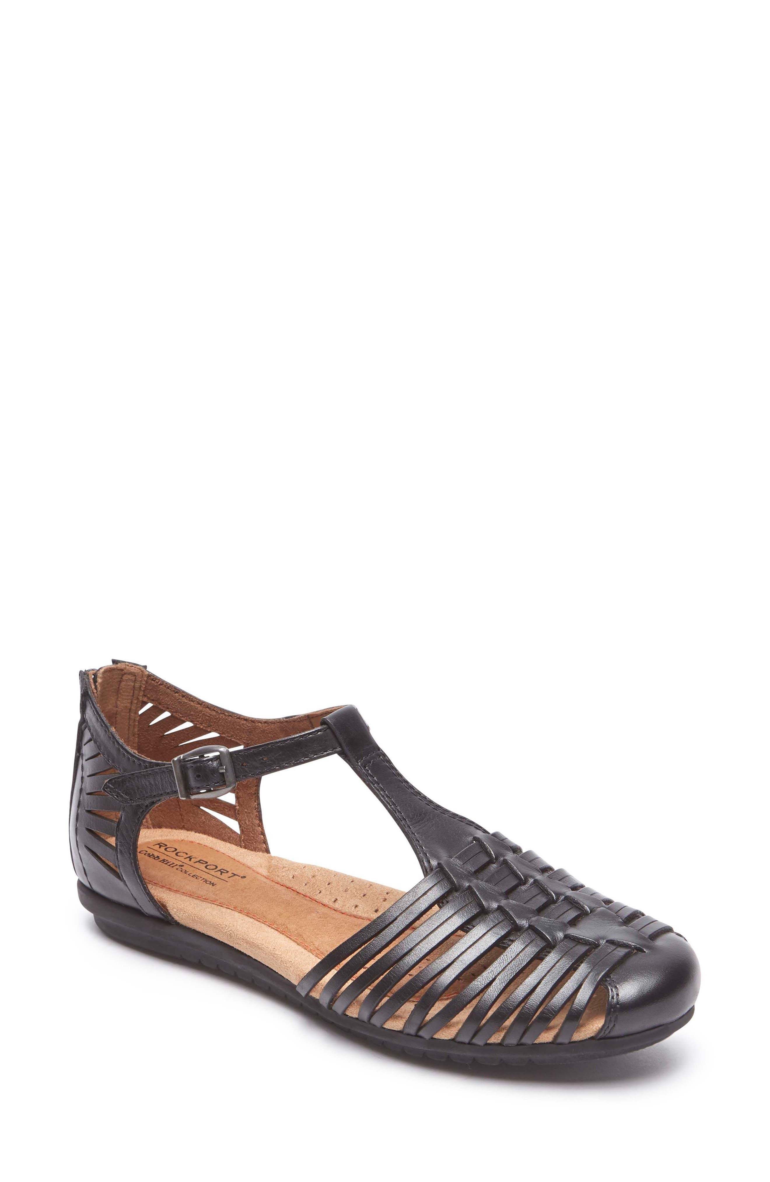 Inglewood Huarache Sandal,                         Main,                         color, BLACK LEATHER