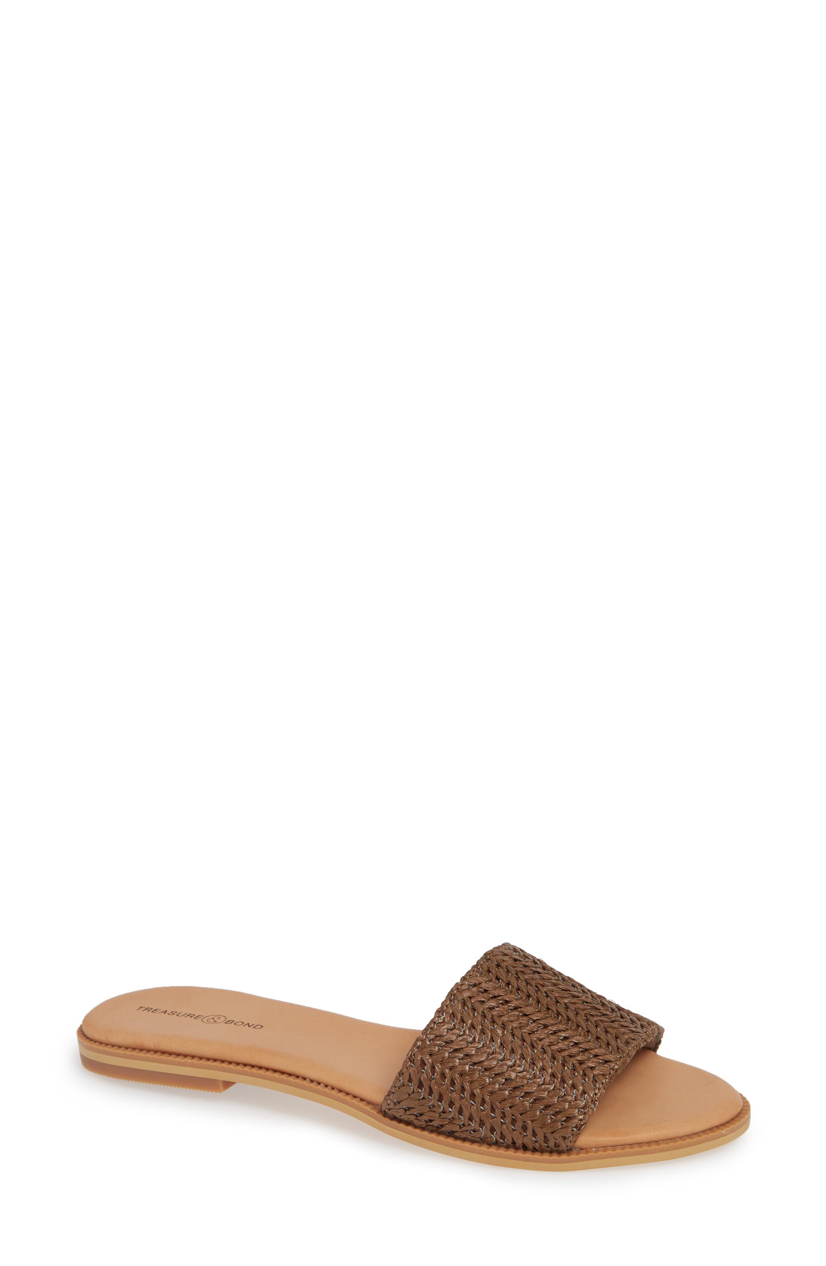 Mere Flat Slide Sandal,                             Main thumbnail 1, color,                             BROWN FAUX RAFFIA