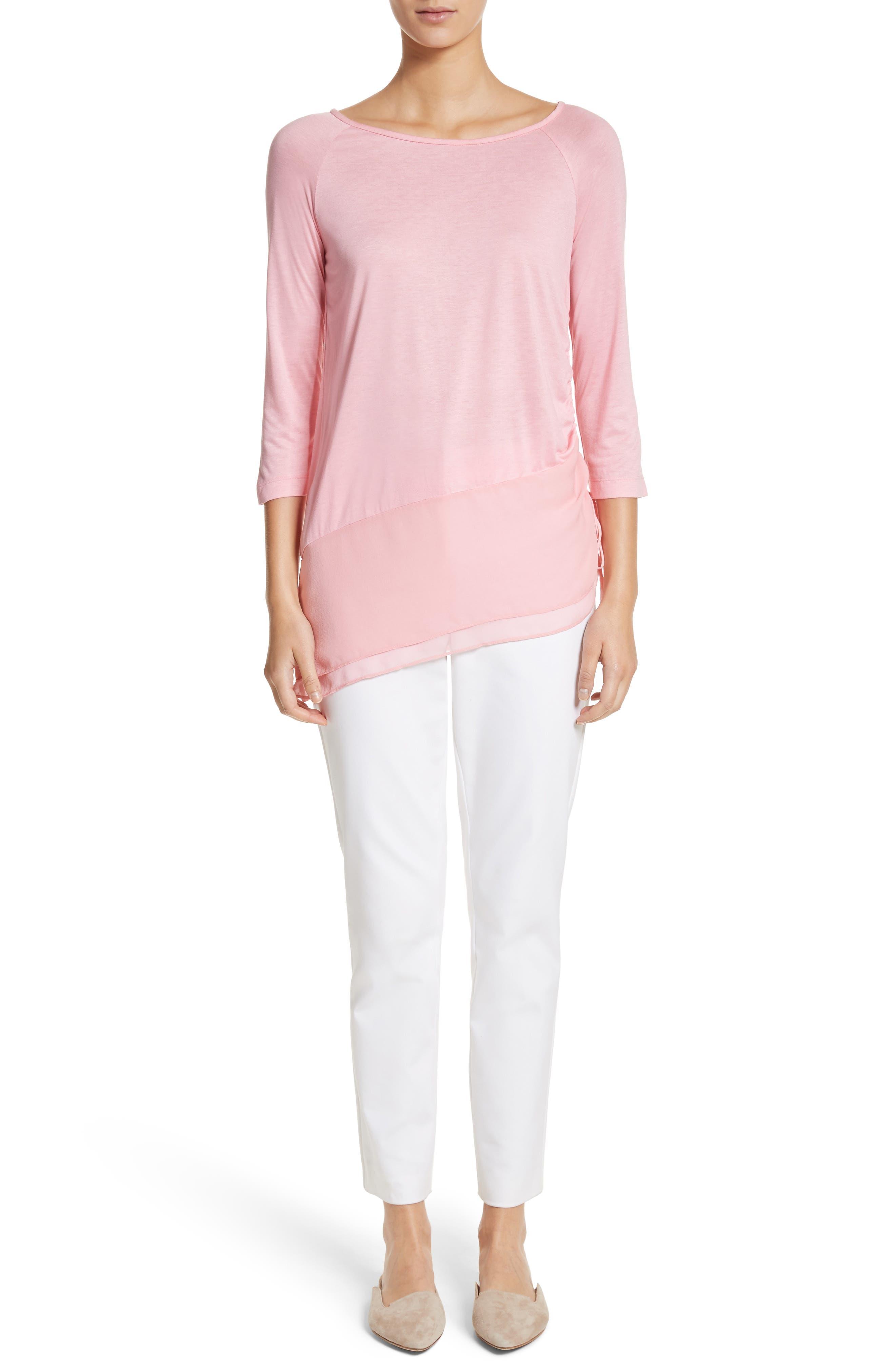 Silk Georgette & Jersey Asymmetrical Blouse,                             Alternate thumbnail 7, color,                             660