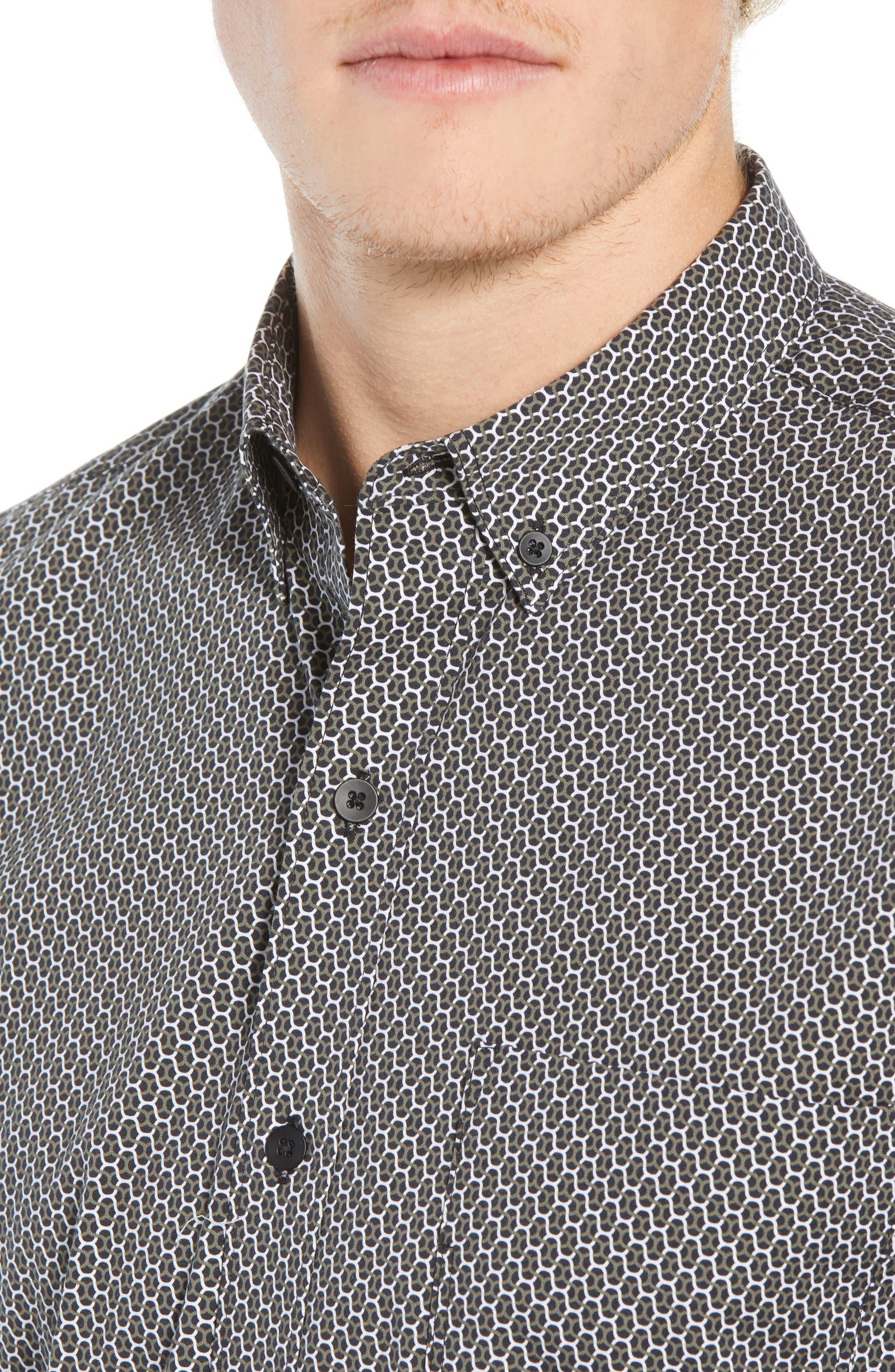 Reworked Slim Fit Print Sport Shirt,                             Alternate thumbnail 2, color,                             BLACK/ GREEN