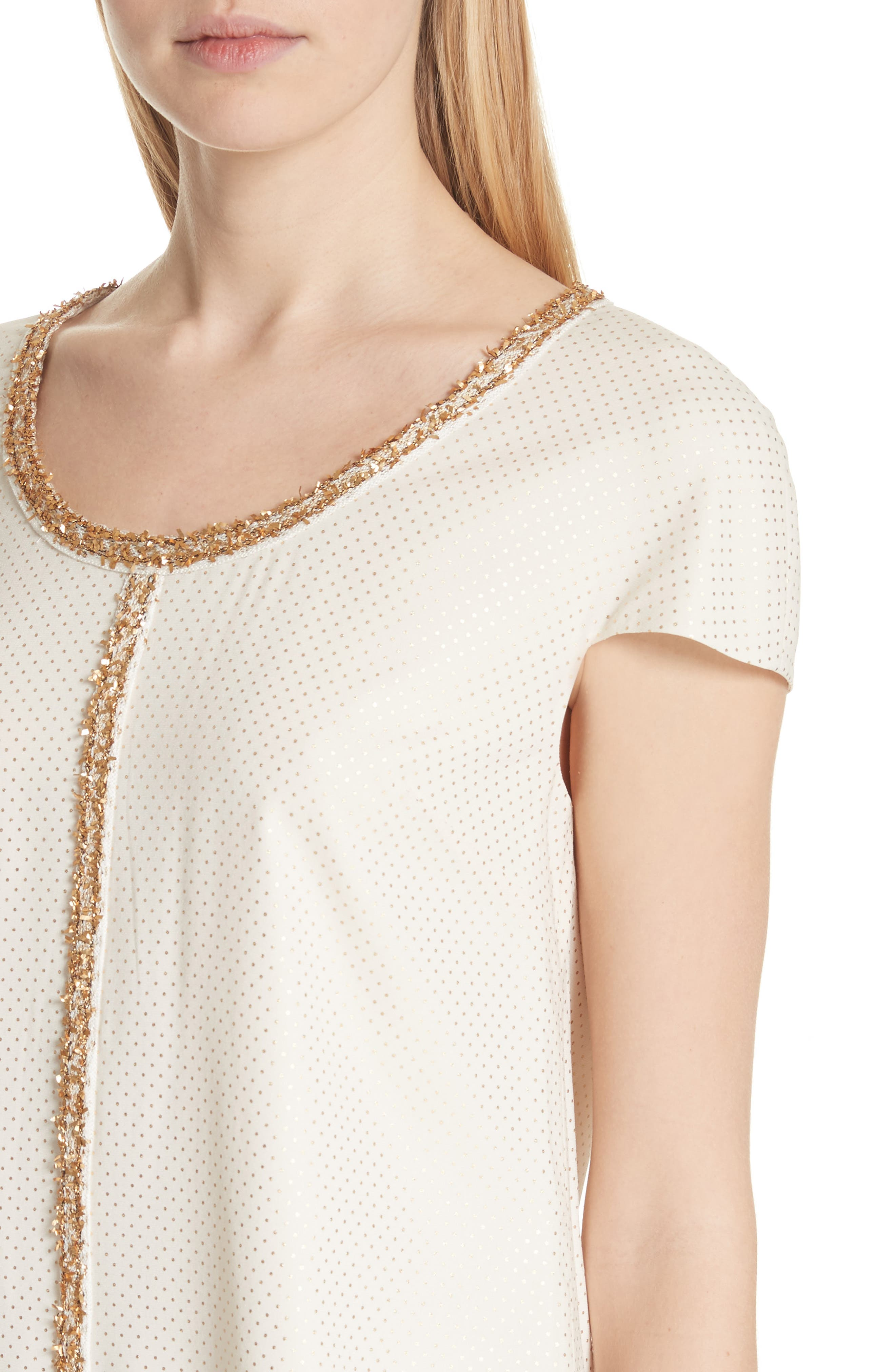 Pin Dot Foil Print Satin Top,                             Alternate thumbnail 4, color,                             ALABASTER/ GOLD