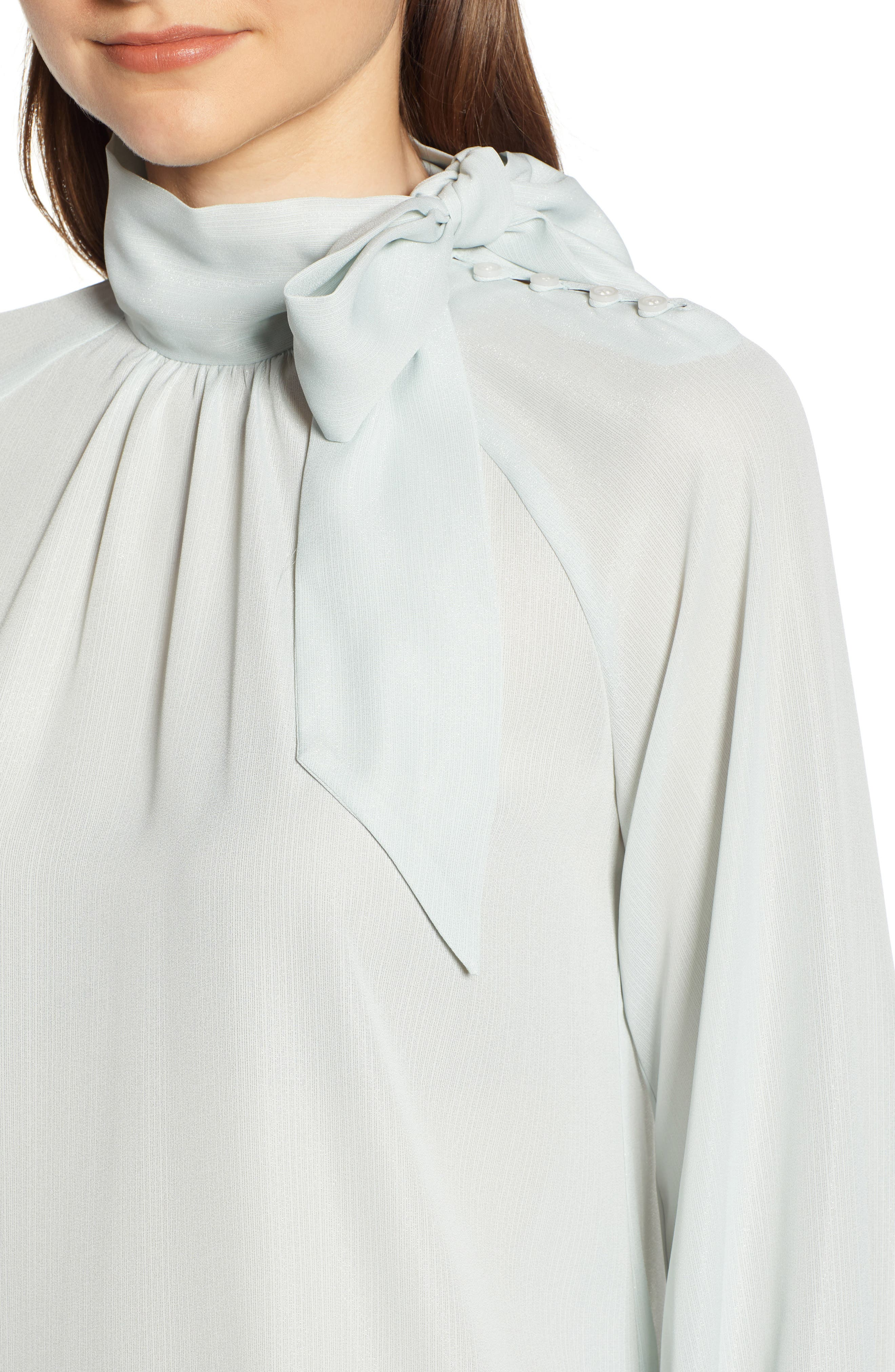 Tie Neck Shimmer Top,                             Alternate thumbnail 4, color,                             BLUE GREY SHIMMER