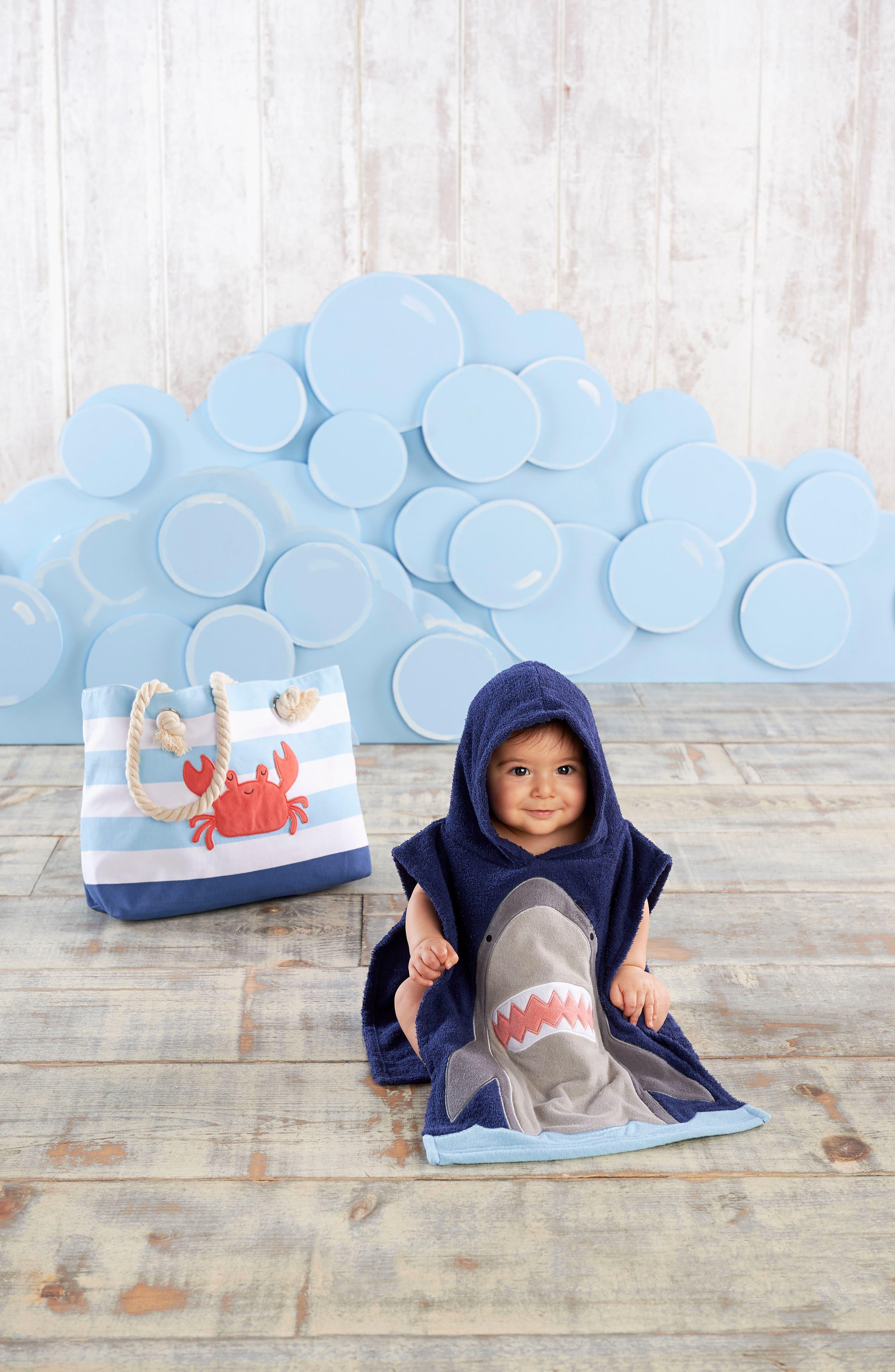 BABY ASPEN,                             Shark Hooded Towel, Swim Trunks, Sun Hat & Tote Set,                             Alternate thumbnail 3, color,                             BLUE