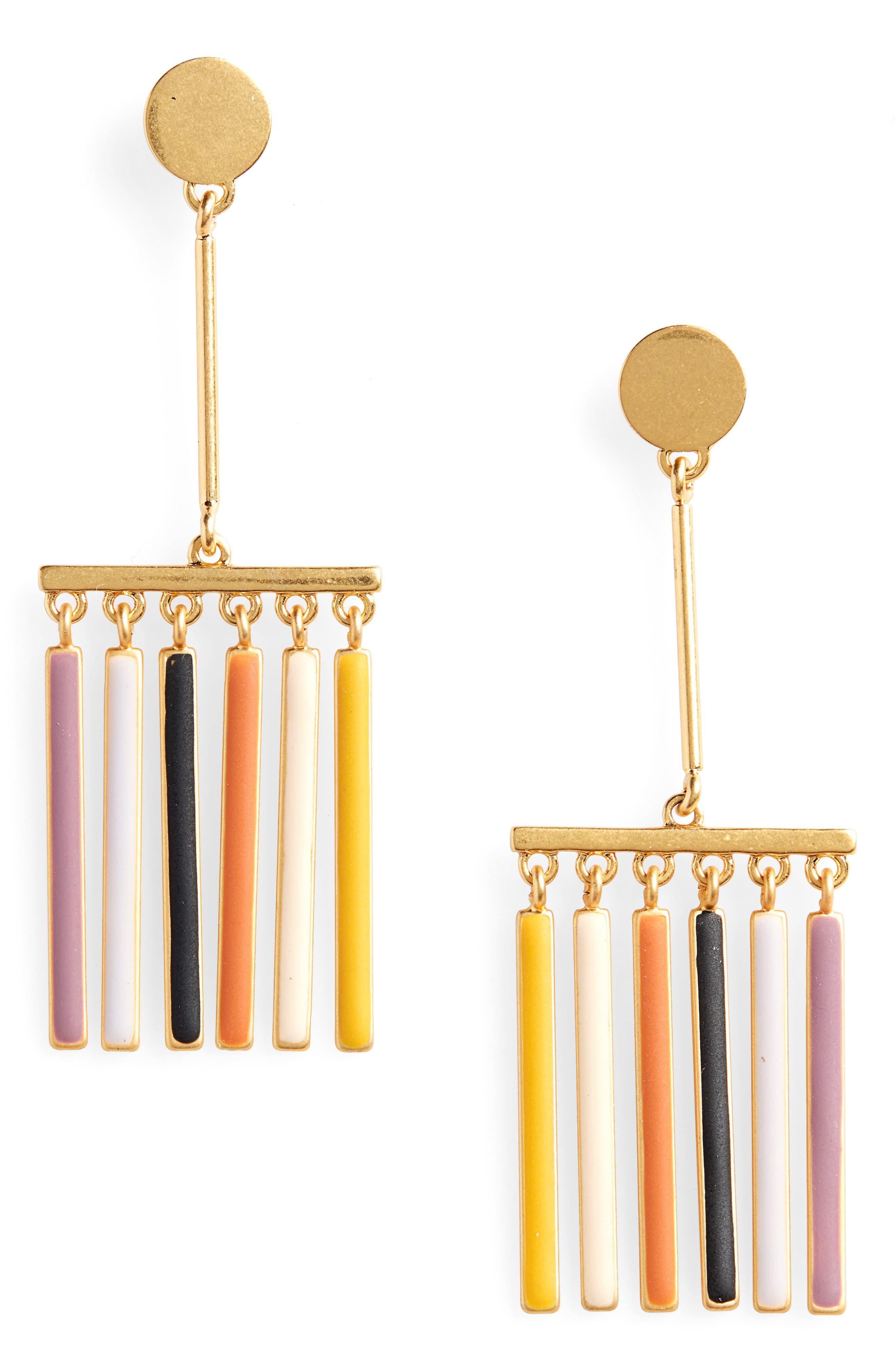 Enamel Rainbow Fringe Earring,                             Main thumbnail 1, color,                             710
