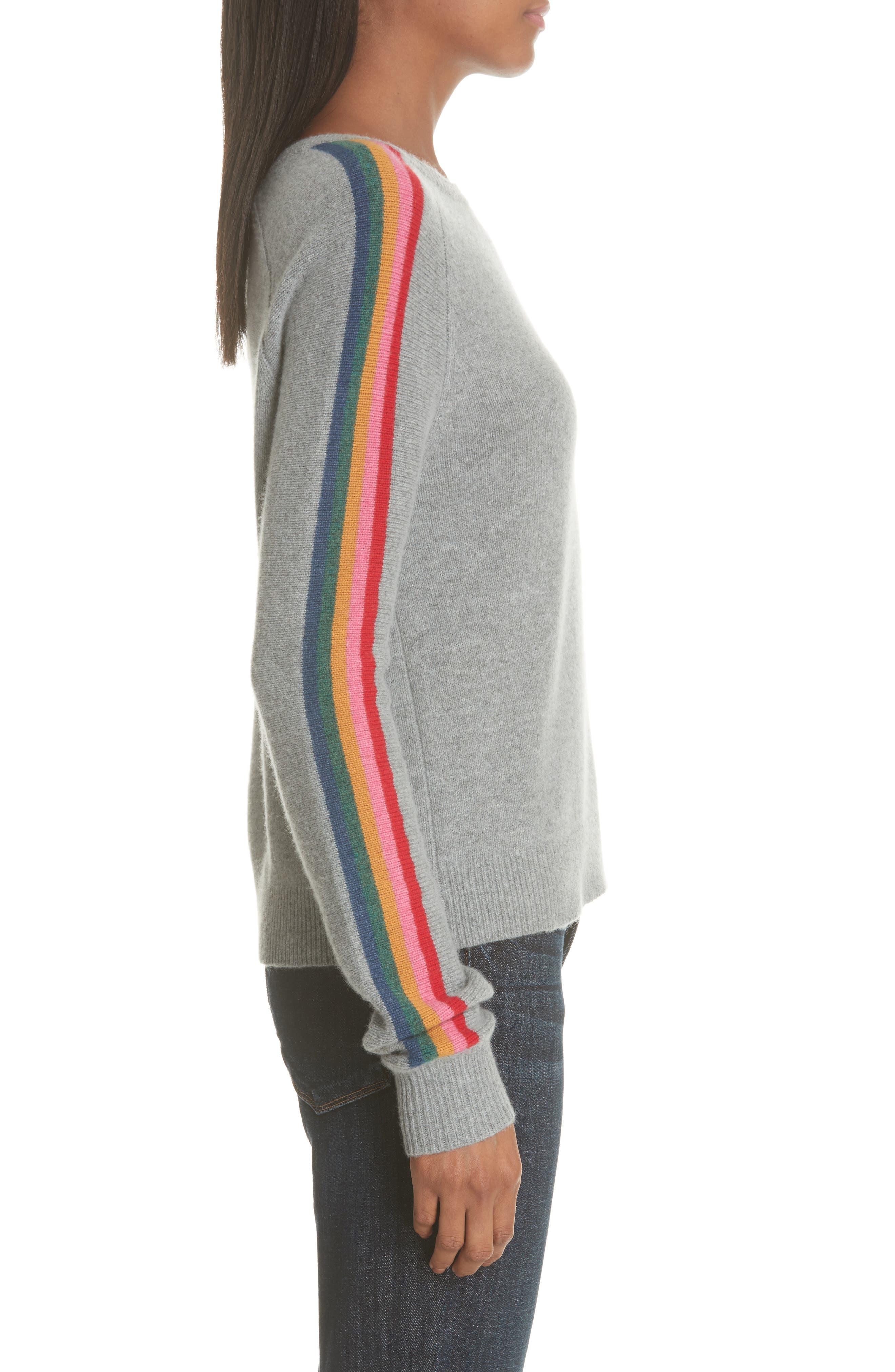 Rainbow Stripe Merino Wool Blend Sweater,                             Alternate thumbnail 3, color,                             MEDIUM GREY MELANGE