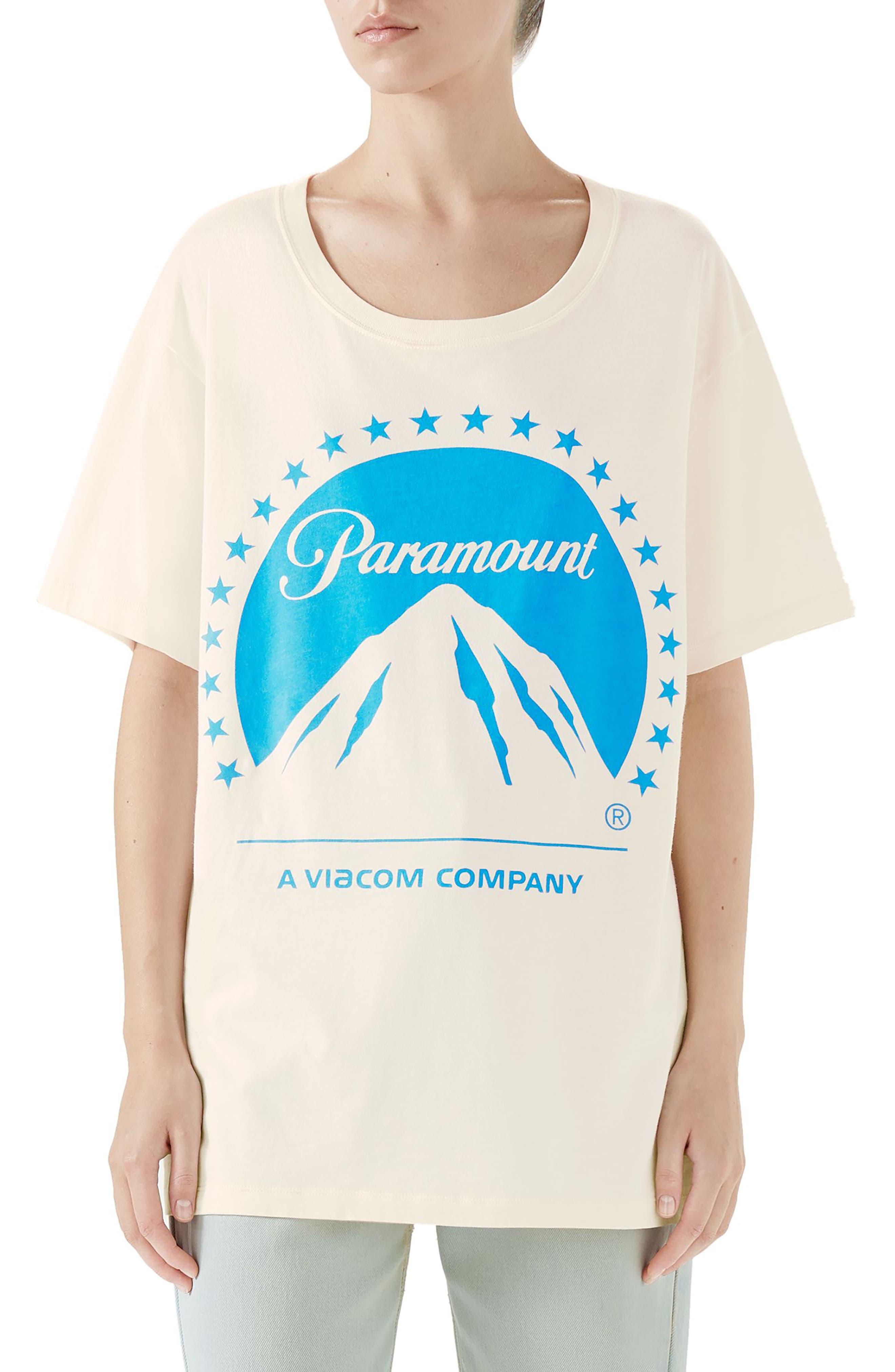 GUCCI,                             Paramount Print Tee,                             Main thumbnail 1, color,                             IVORY