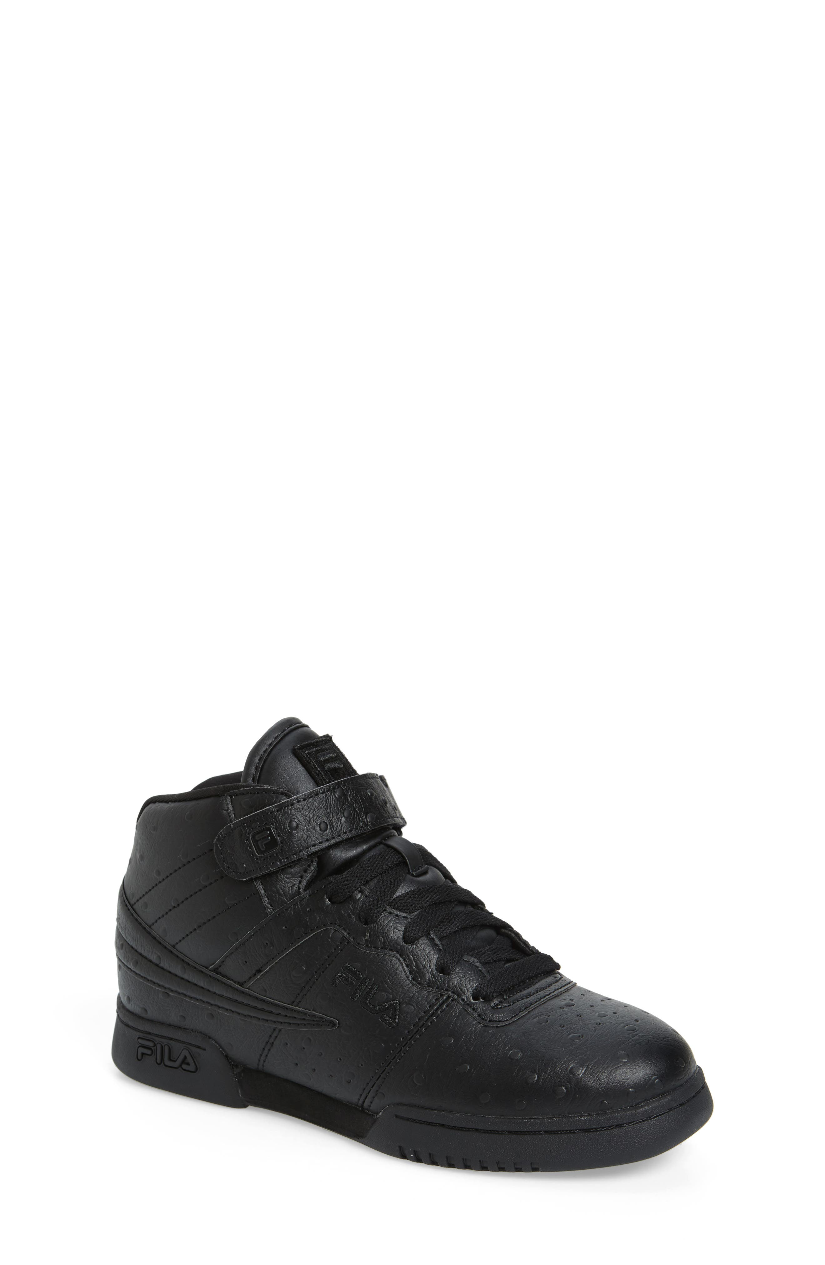 F-13 Ostrich Embossed High Top Sneaker,                             Main thumbnail 1, color,                             TRIPLE BLACK