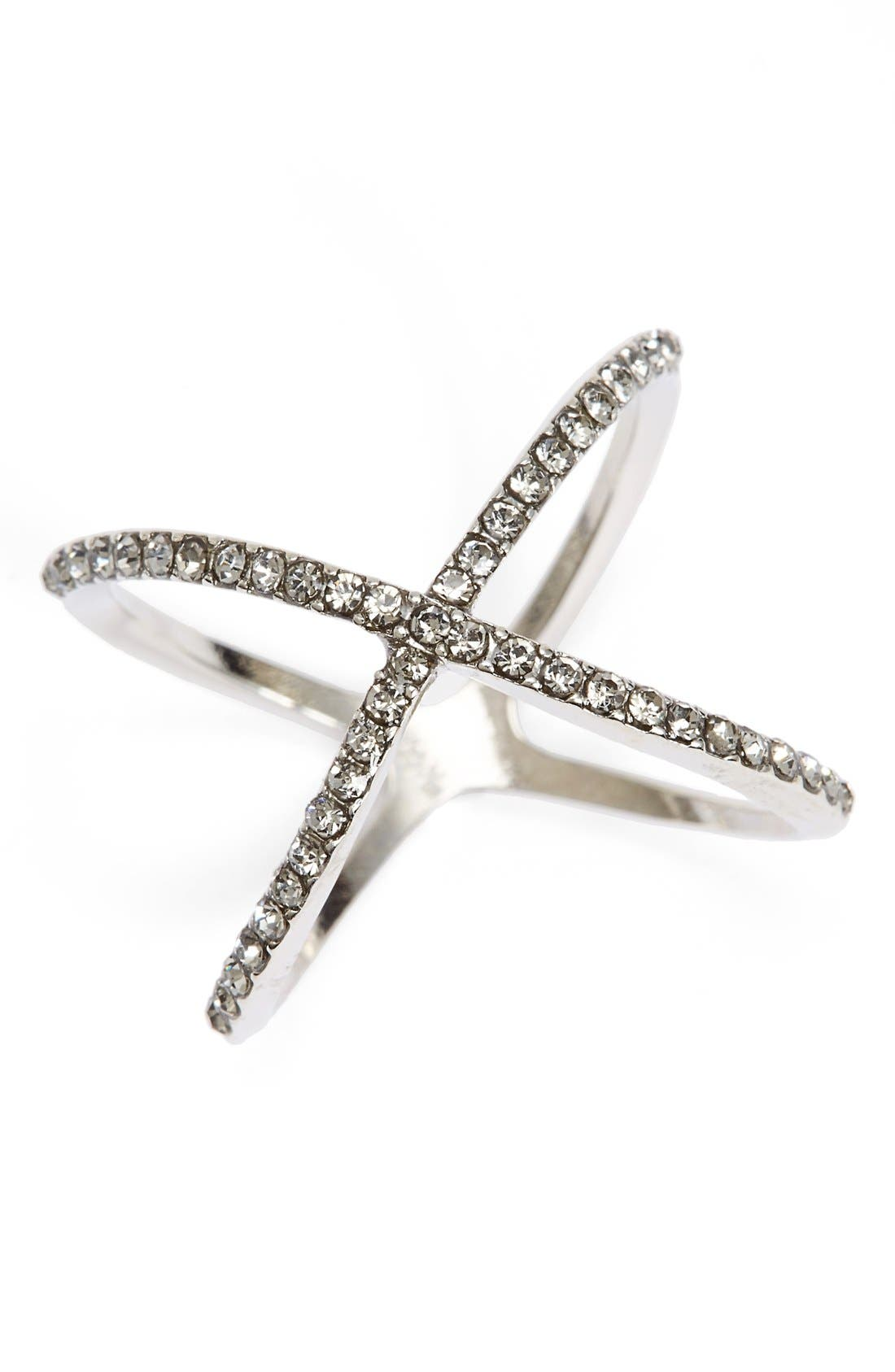 Rhinestone Crossover Ring,                         Main,                         color, 001