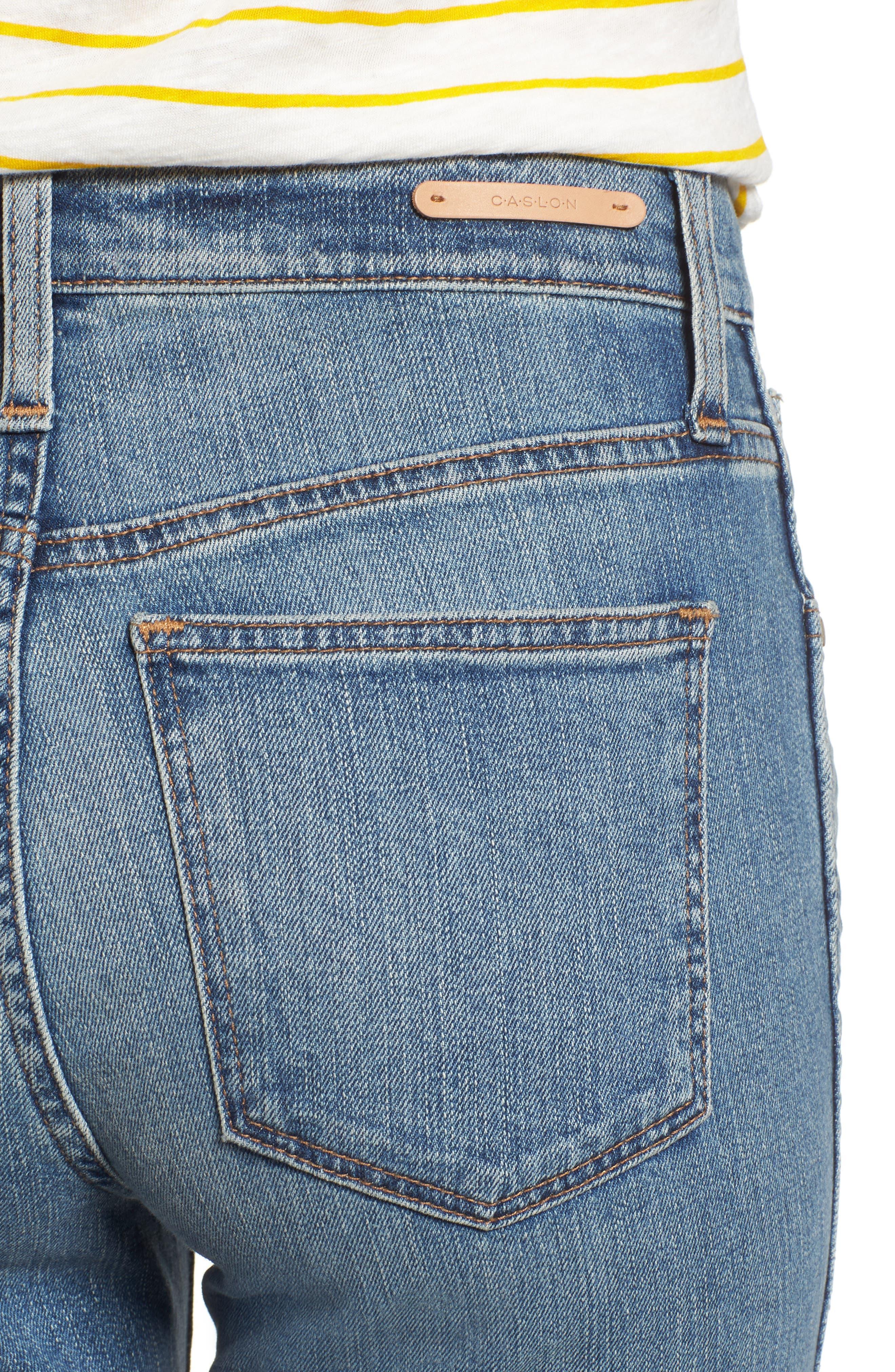 Raw Hem Slim Straight Leg Jeans,                             Alternate thumbnail 4, color,                             420