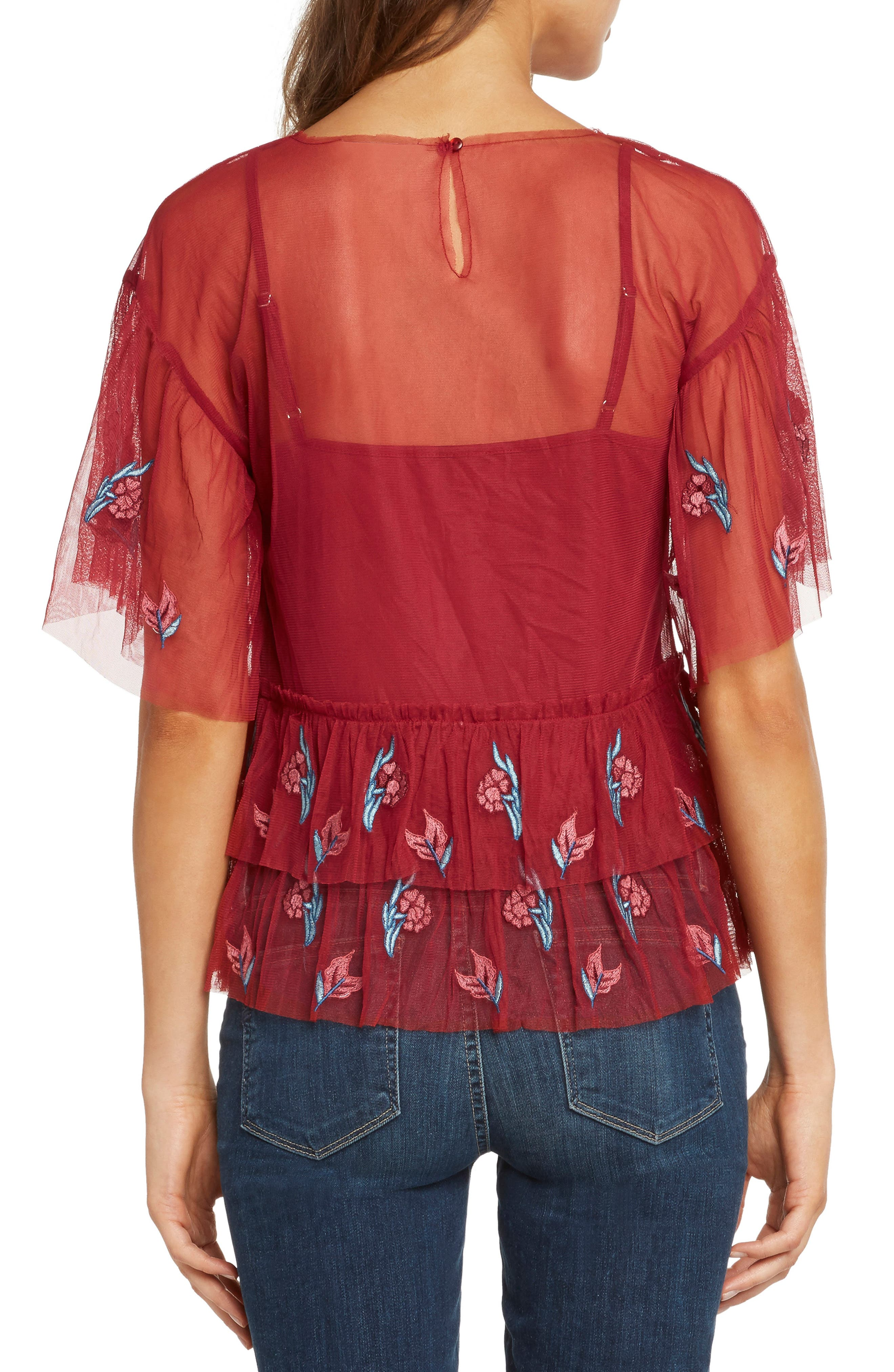 Embroidered Ruffle Top,                             Alternate thumbnail 2, color,                             SCARLET