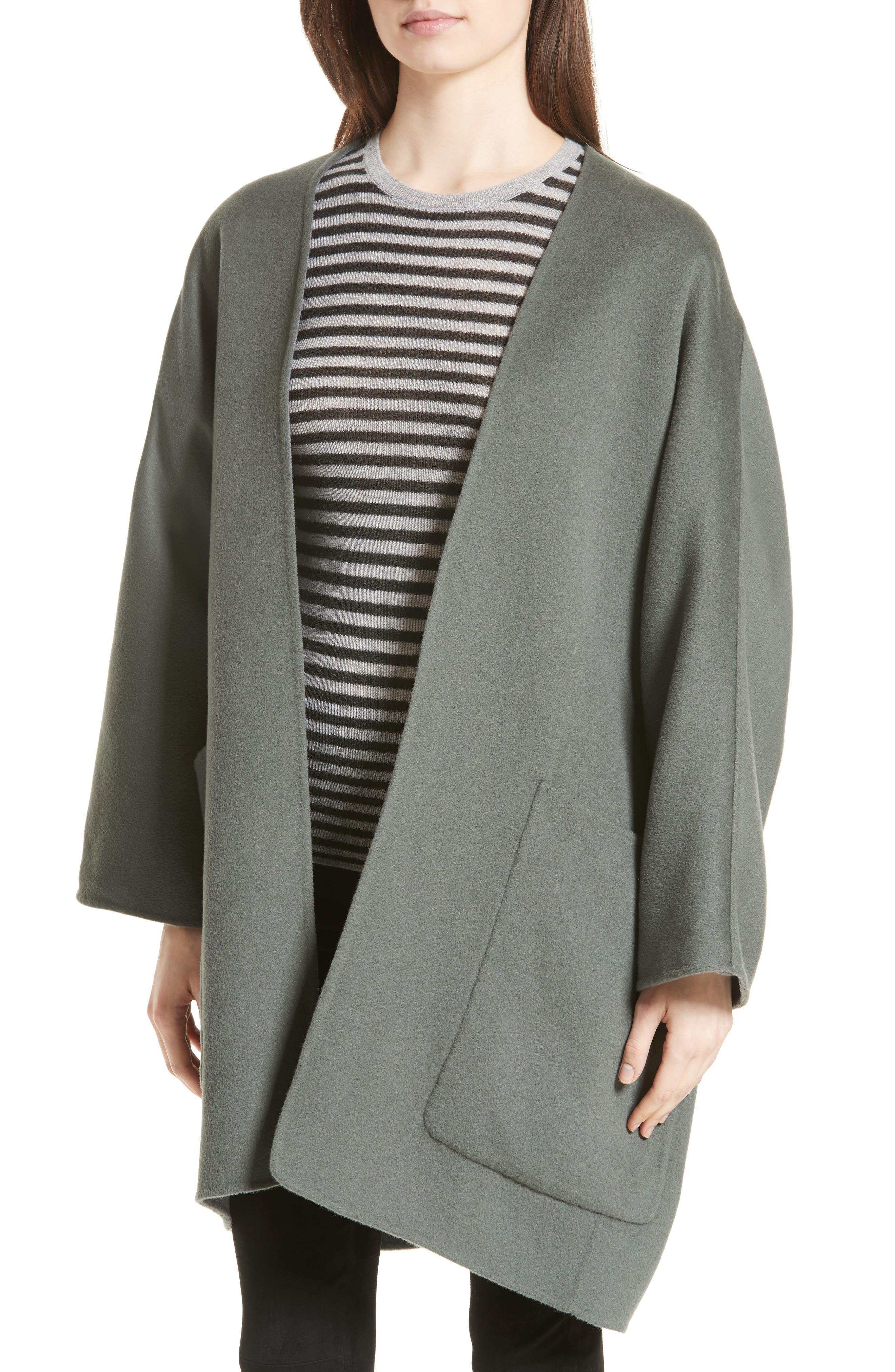 Reversible Wool & Cashmere Clutch Coat,                             Alternate thumbnail 10, color,