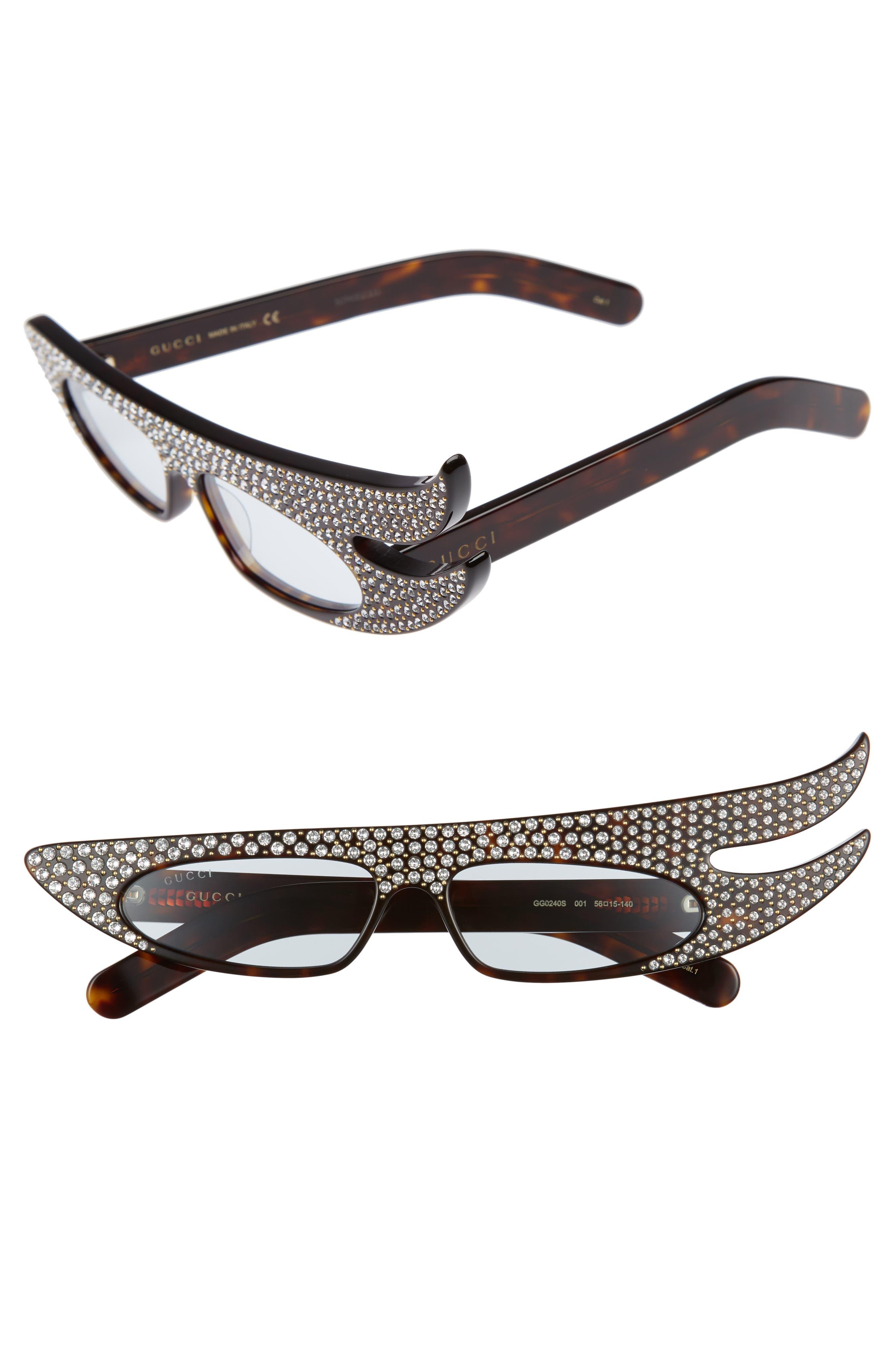 56mm Embellished Statement Sunglasses,                             Main thumbnail 1, color,                             HAVANA