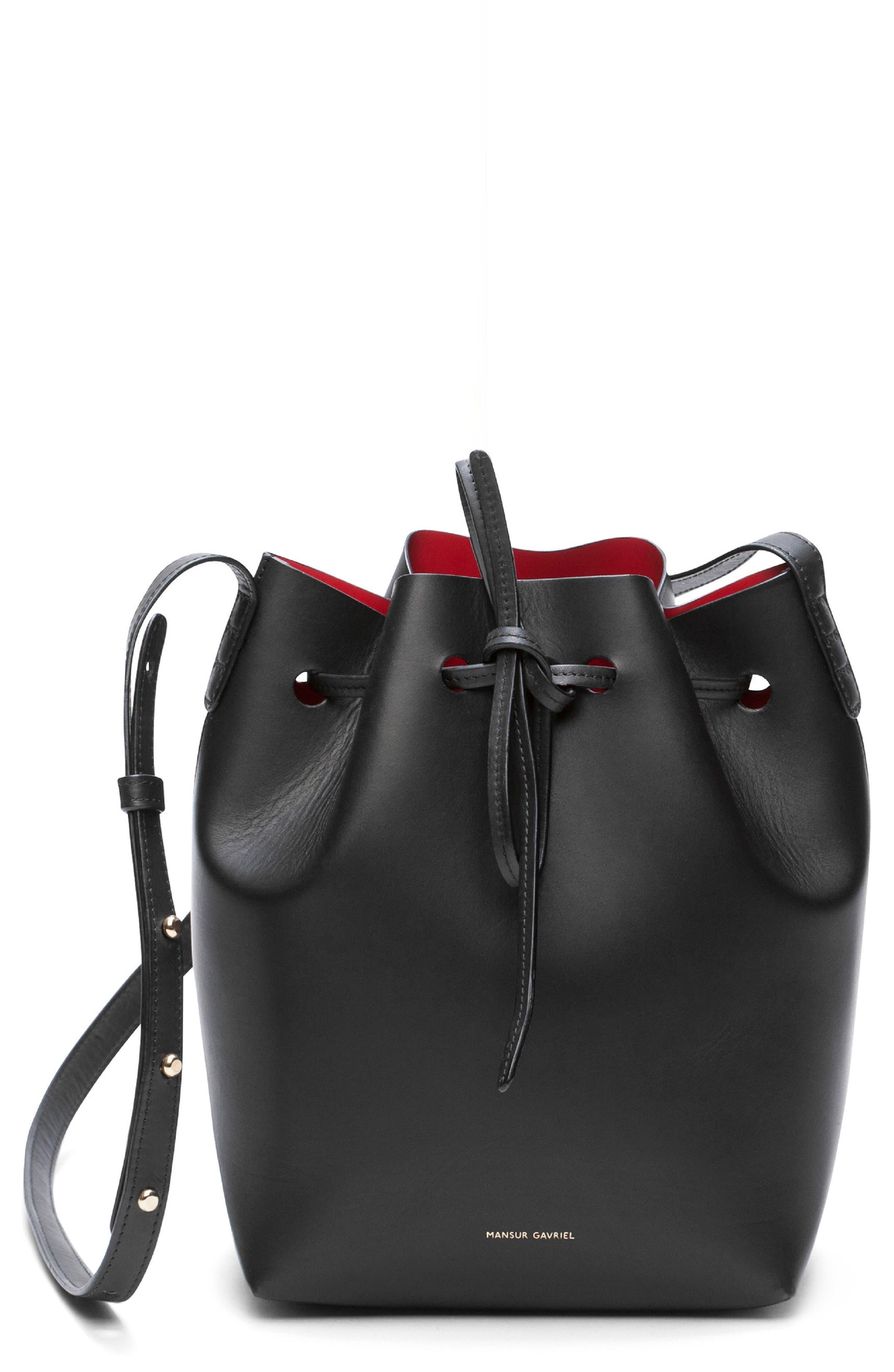 Mini Leather Bucket Bag,                             Main thumbnail 1, color,                             BLACK/ FLAMMA
