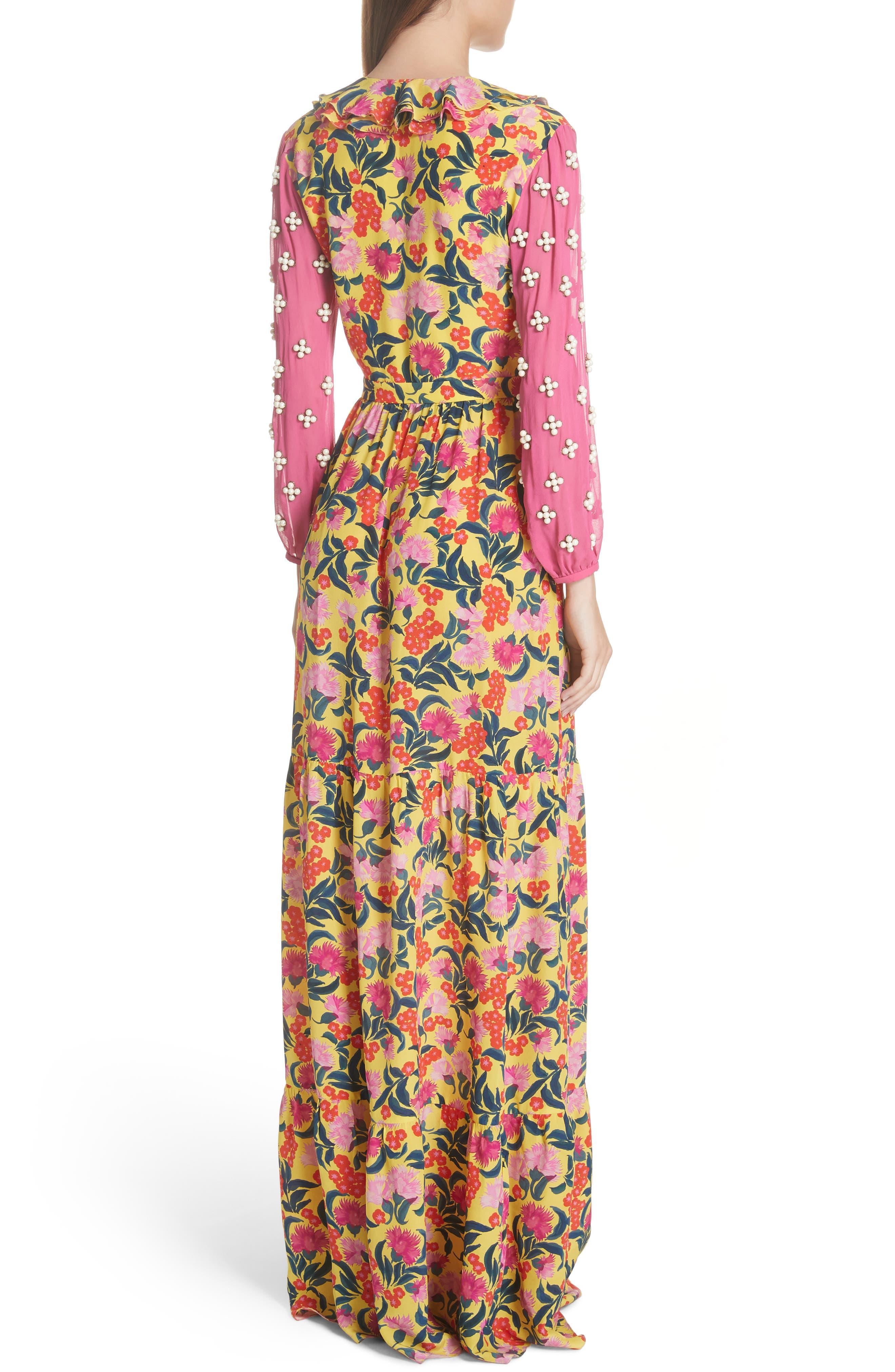 SALONI,                             Ginny Floral Print Embellished Sleeve Silk Dress,                             Alternate thumbnail 2, color,                             720