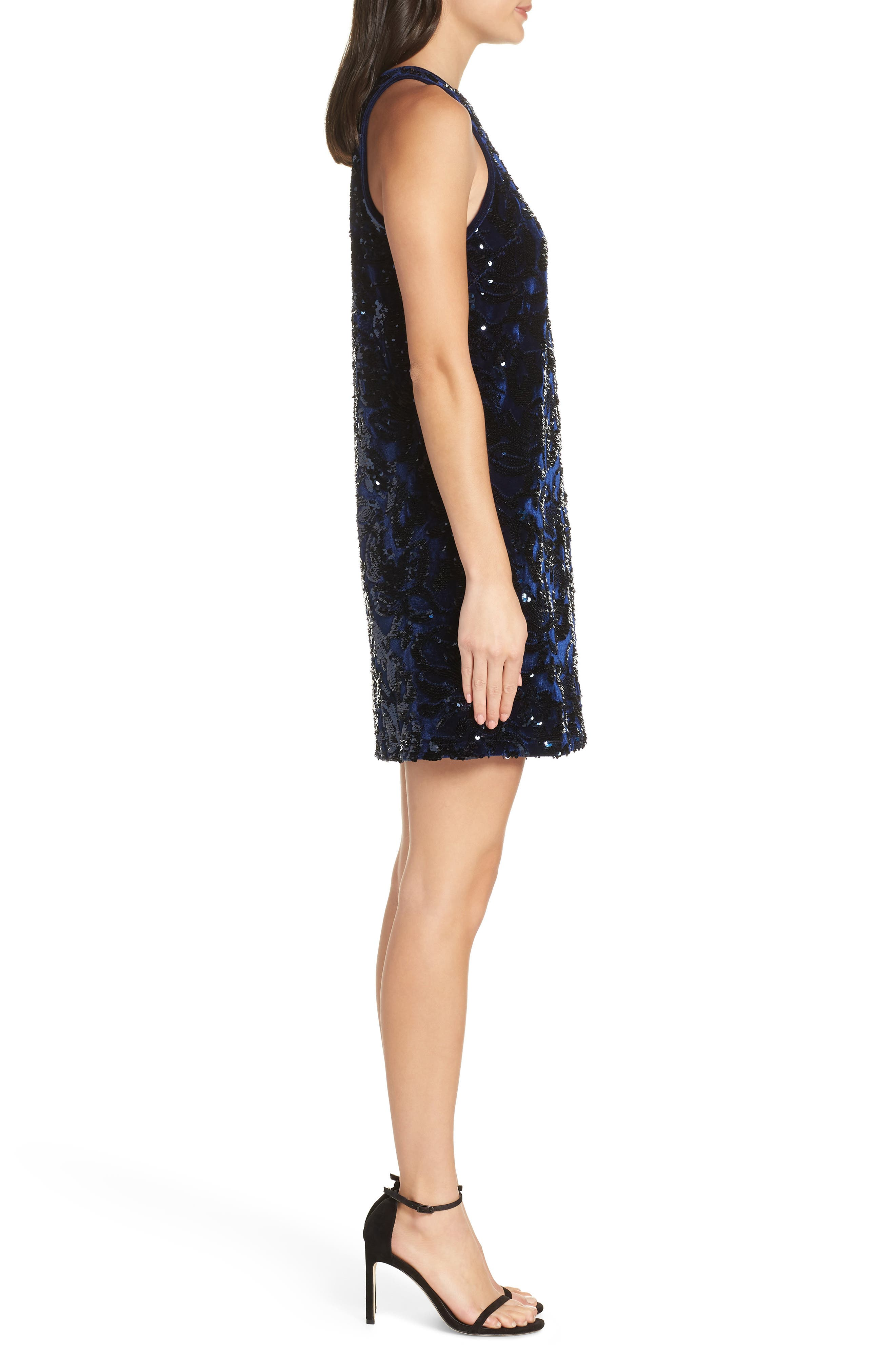 Teddy Sequin Embellished Dress,                             Alternate thumbnail 3, color,                             NAVY MULTI