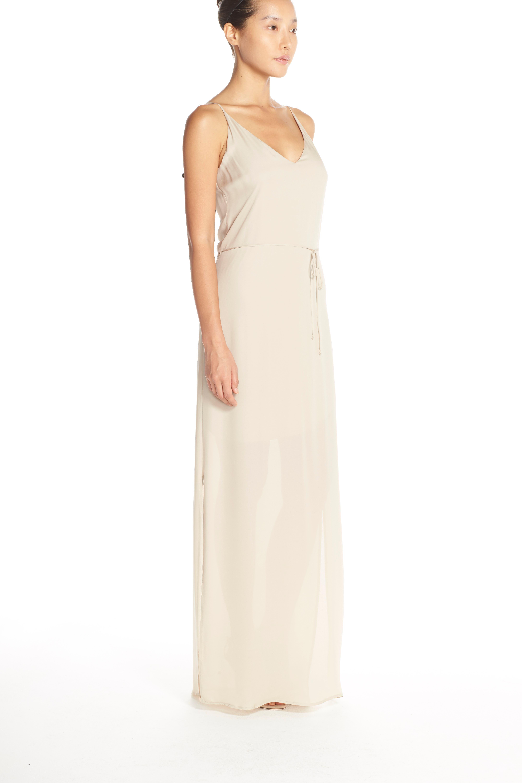 'Harlow' Belted Silk Georgette Deep V-Back Gown,                             Alternate thumbnail 4, color,                             NUDE