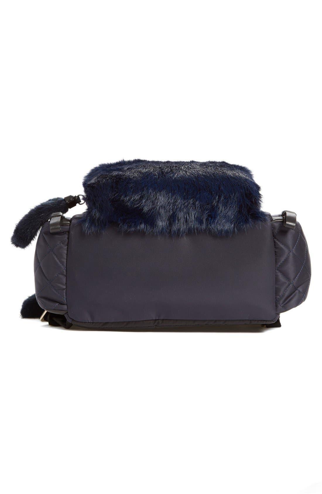 'Florine' Genuine Rabbit Fur Trim Backpack,                             Alternate thumbnail 2, color,                             419