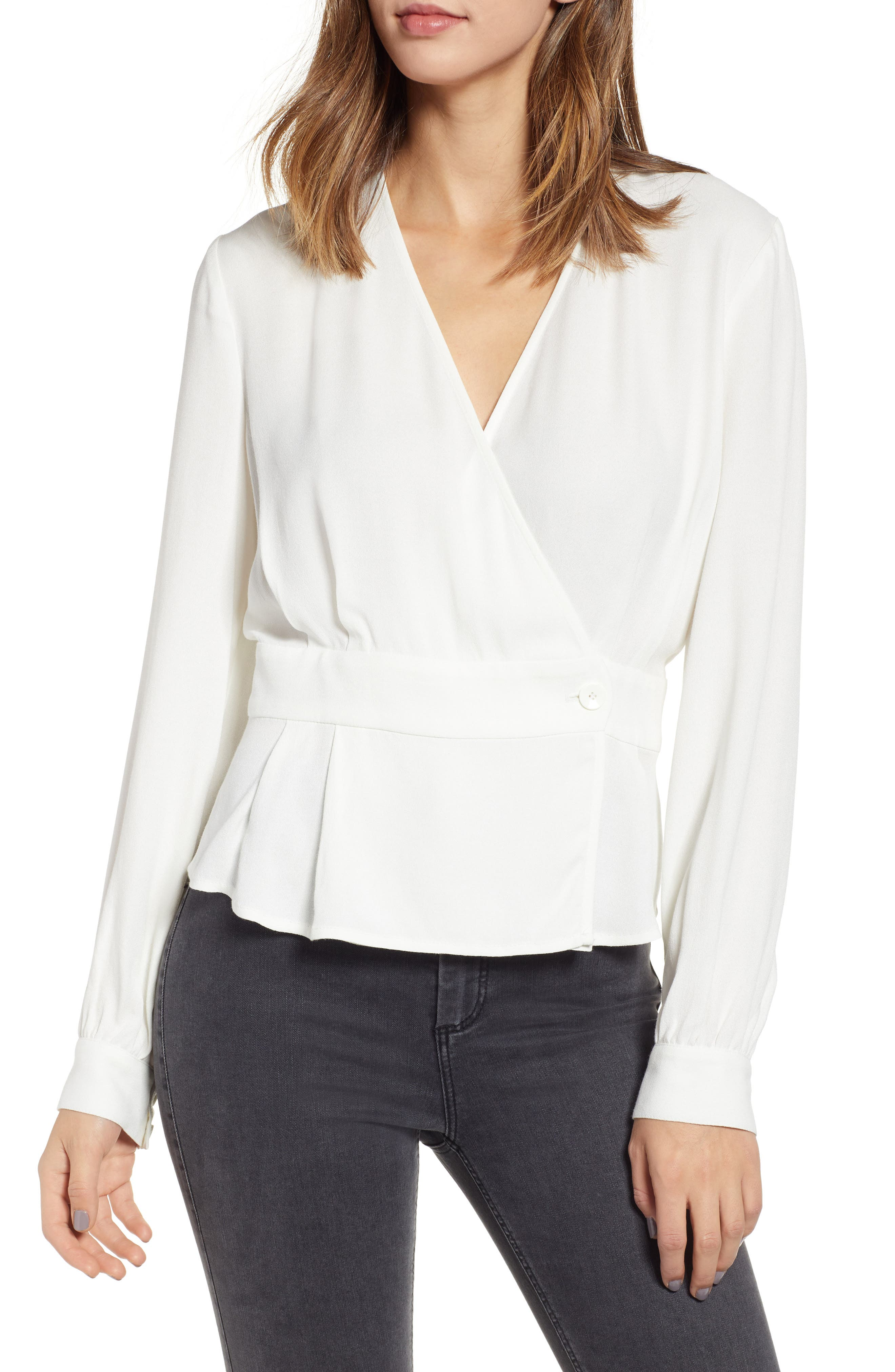 LEITH,                             Button Detail Wrap Top,                             Main thumbnail 1, color,                             IVORY