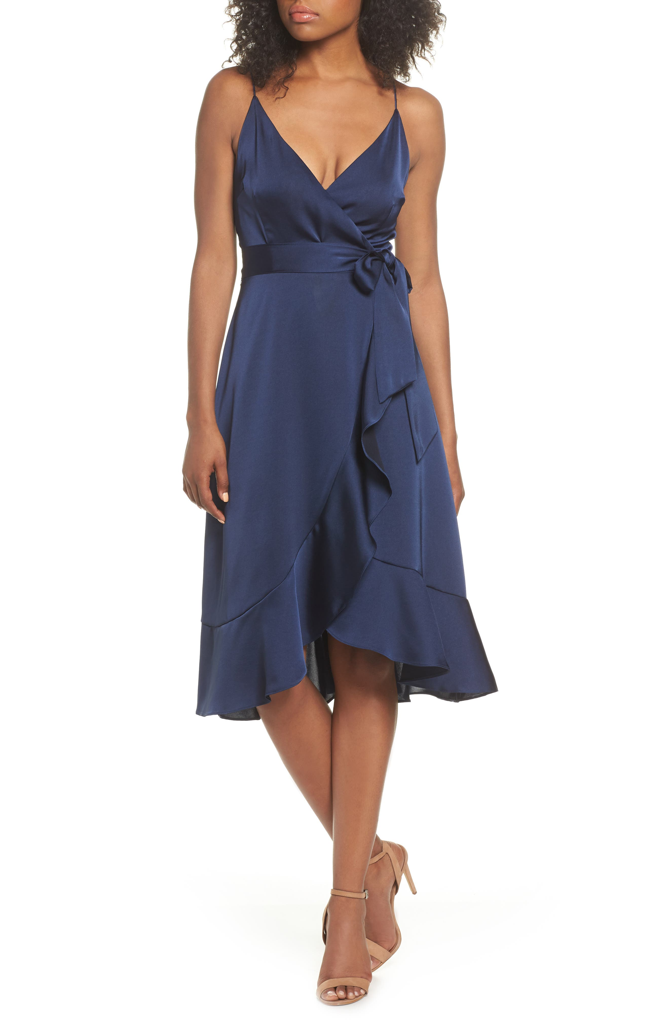 Marilyn Satin Faux Wrap Dress,                             Main thumbnail 1, color,                             NAVY
