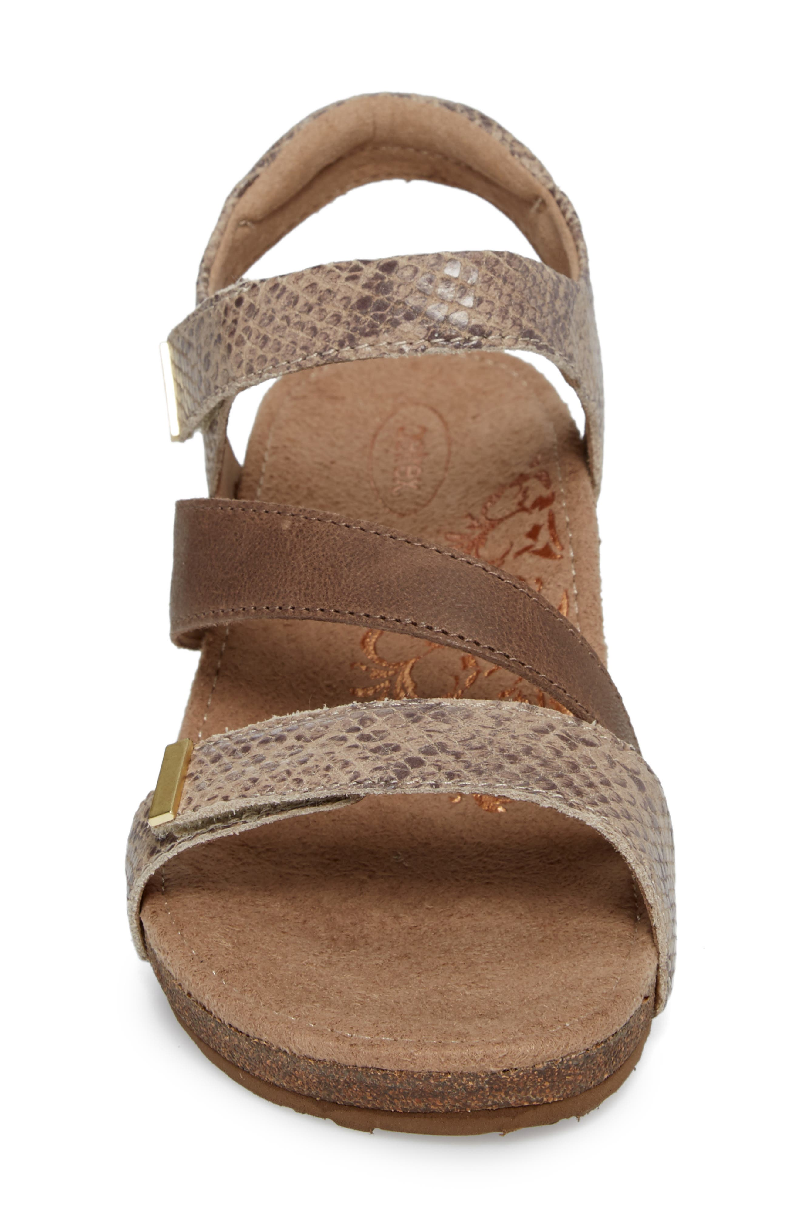 Brynn Asymmetrical Wedge Sandal,                             Alternate thumbnail 4, color,                             STONE SNAKE LEATHER