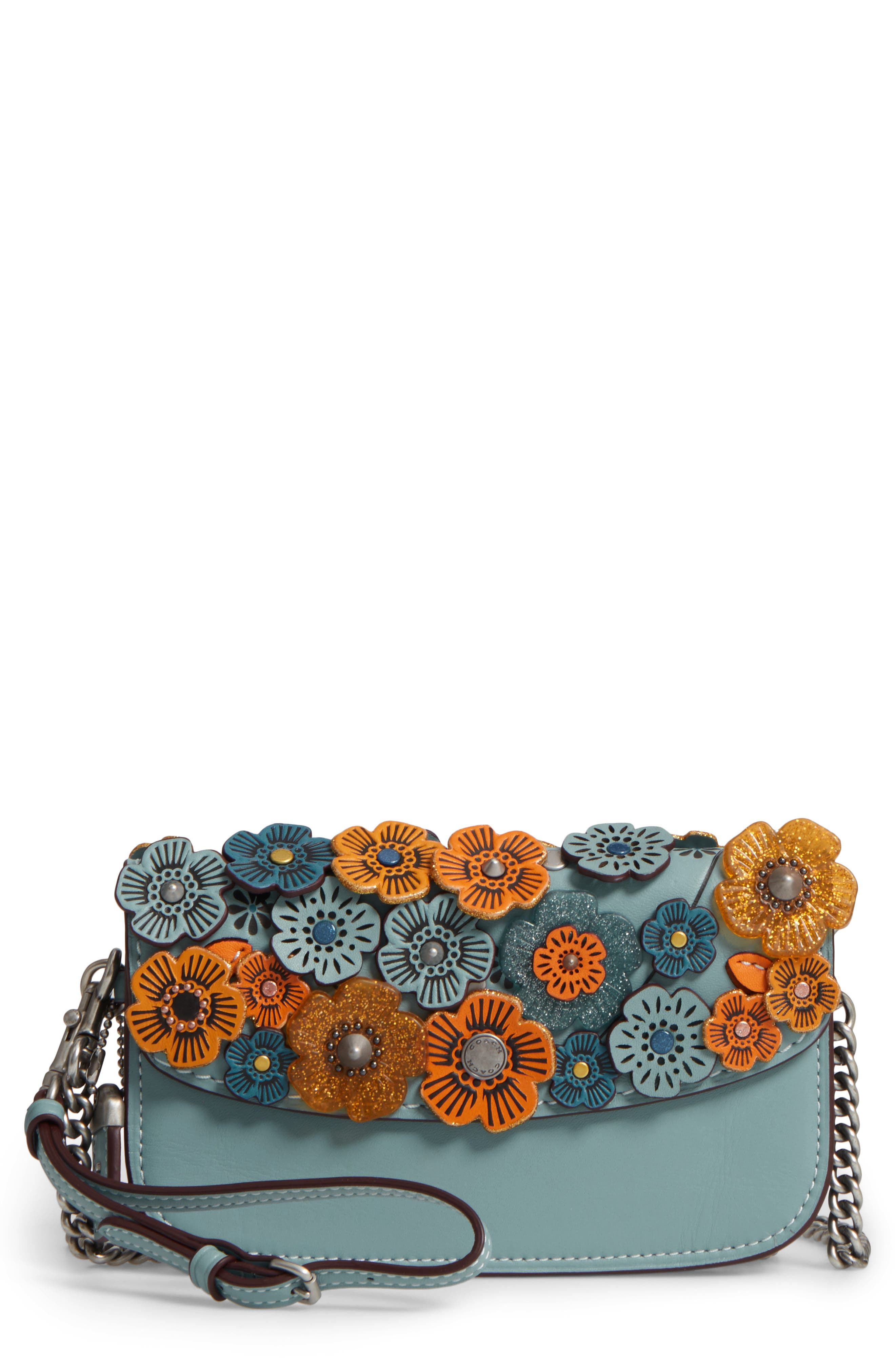 Embellished Tea Rose Leather Crossbody Clutch,                             Main thumbnail 1, color,                             462