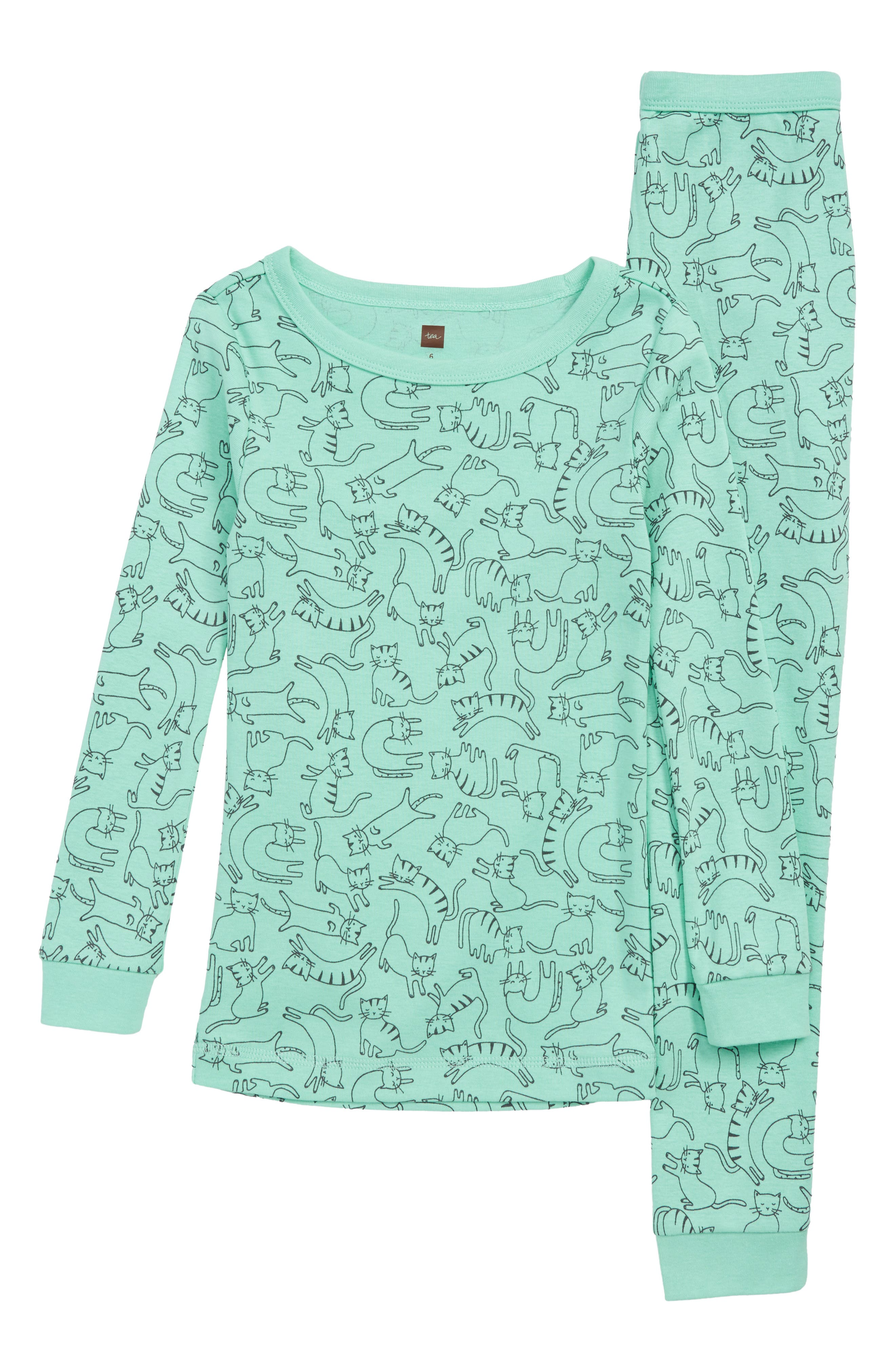 Fitted Two-Piece Pajamas,                             Main thumbnail 1, color,                             ALLEY CATS