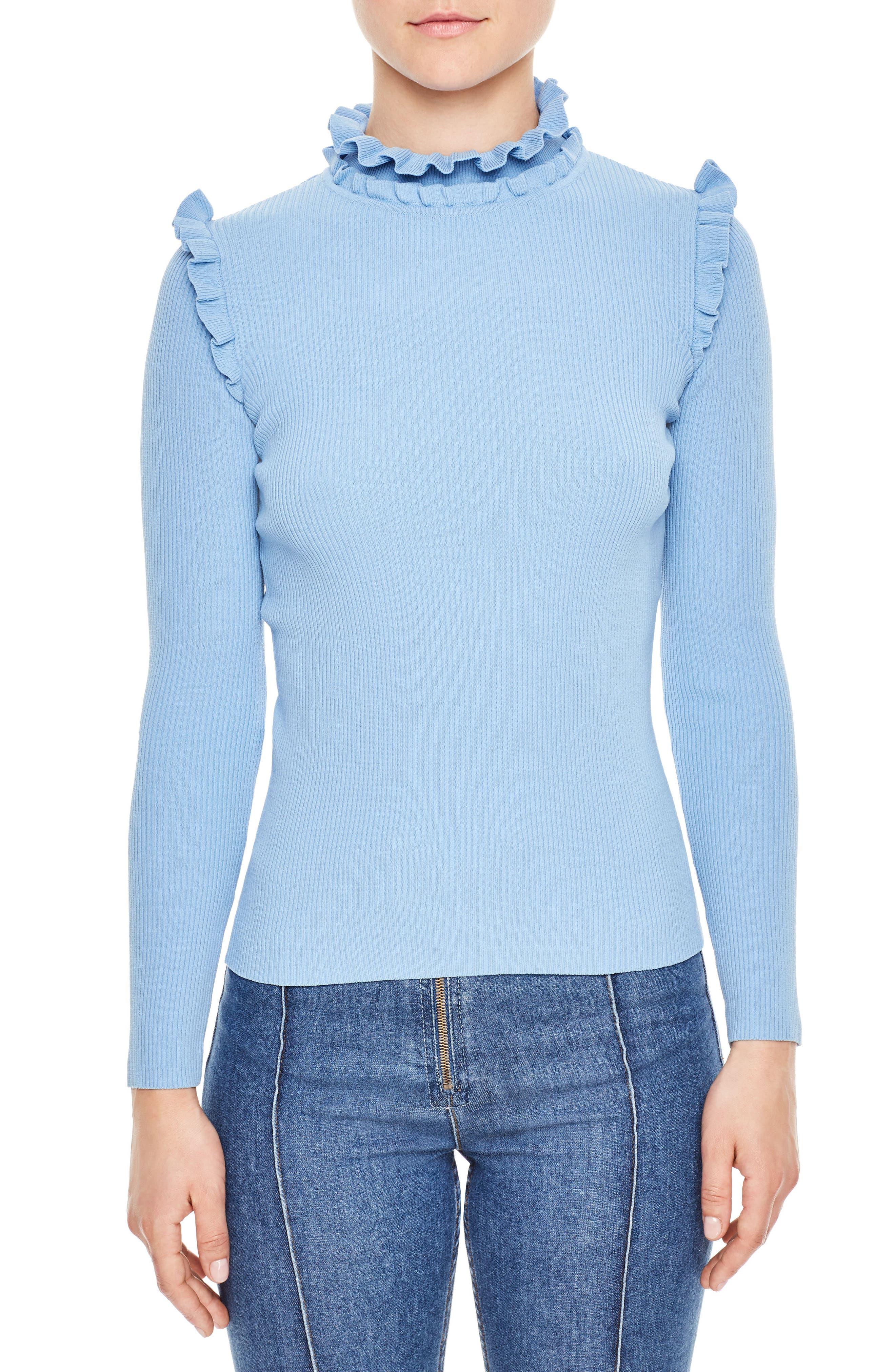 Ruffle Trim Turtleneck Sweater,                             Main thumbnail 2, color,