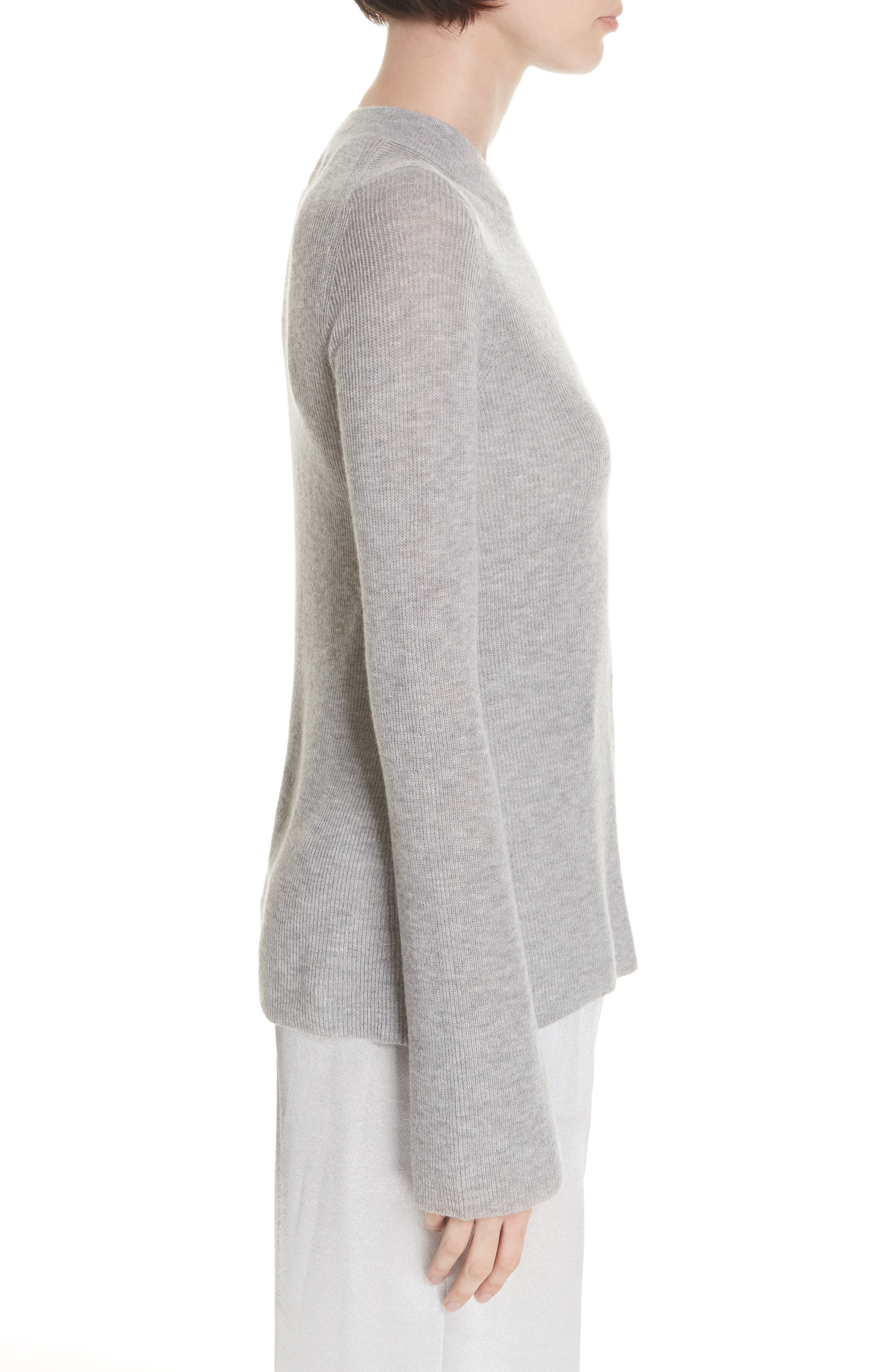 Ribbed Cashmere Sweater,                             Alternate thumbnail 3, color,                             H STEEL