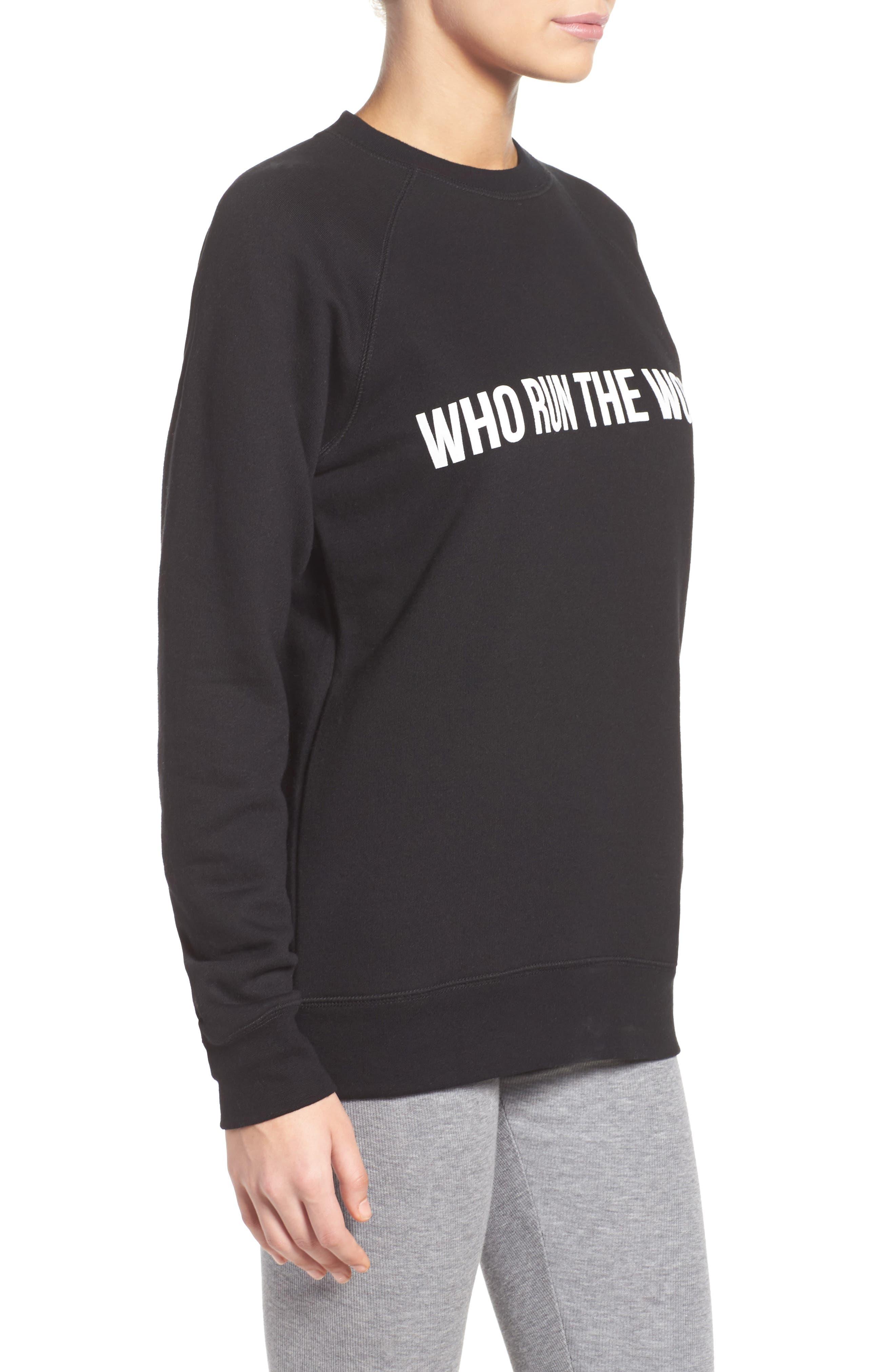 Who Run the World Sweatshirt,                             Alternate thumbnail 3, color,                             001