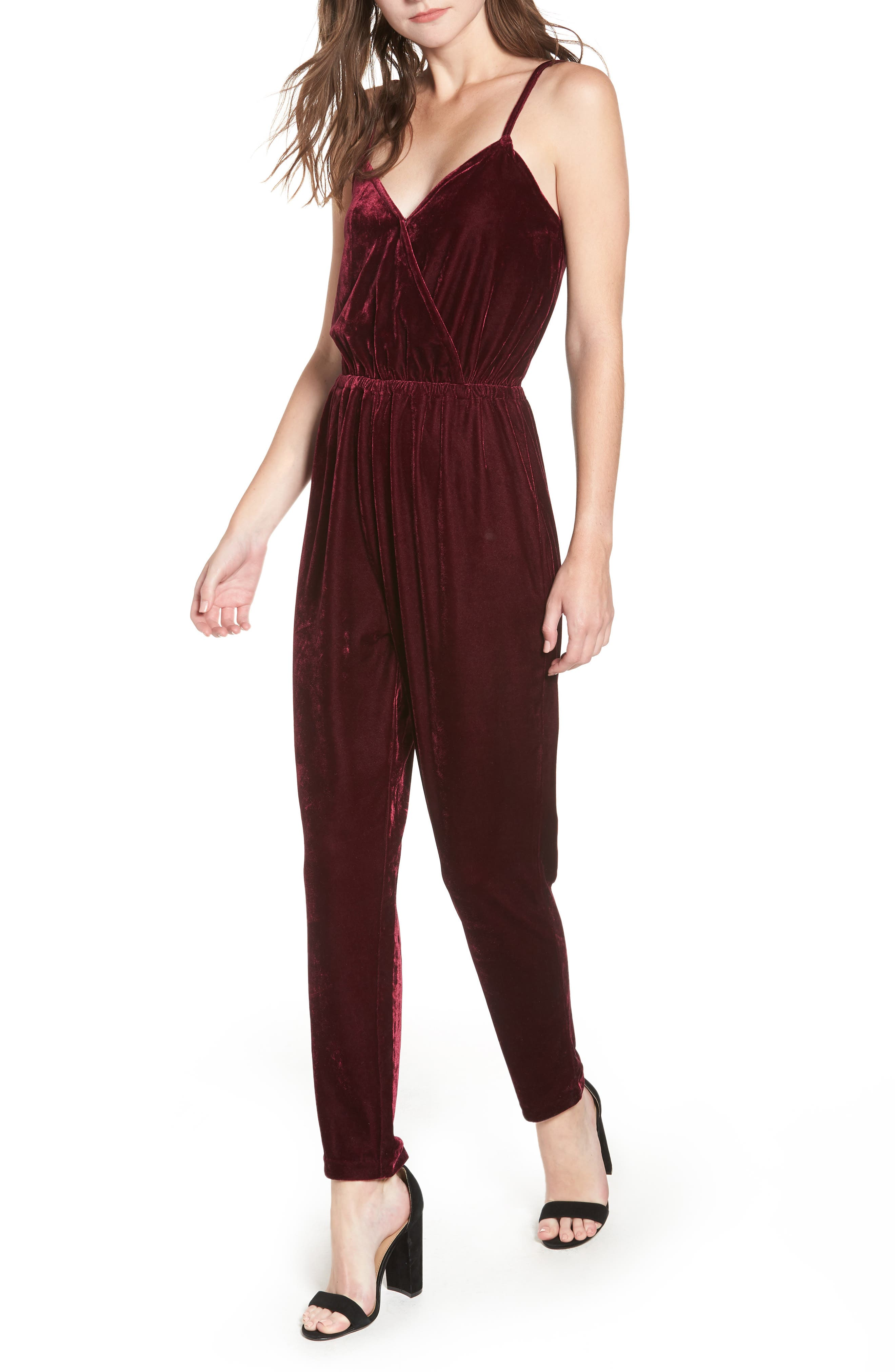 CUPCAKES AND CASHMERE Velvet Jumpsuit, Main, color, RED VELVET