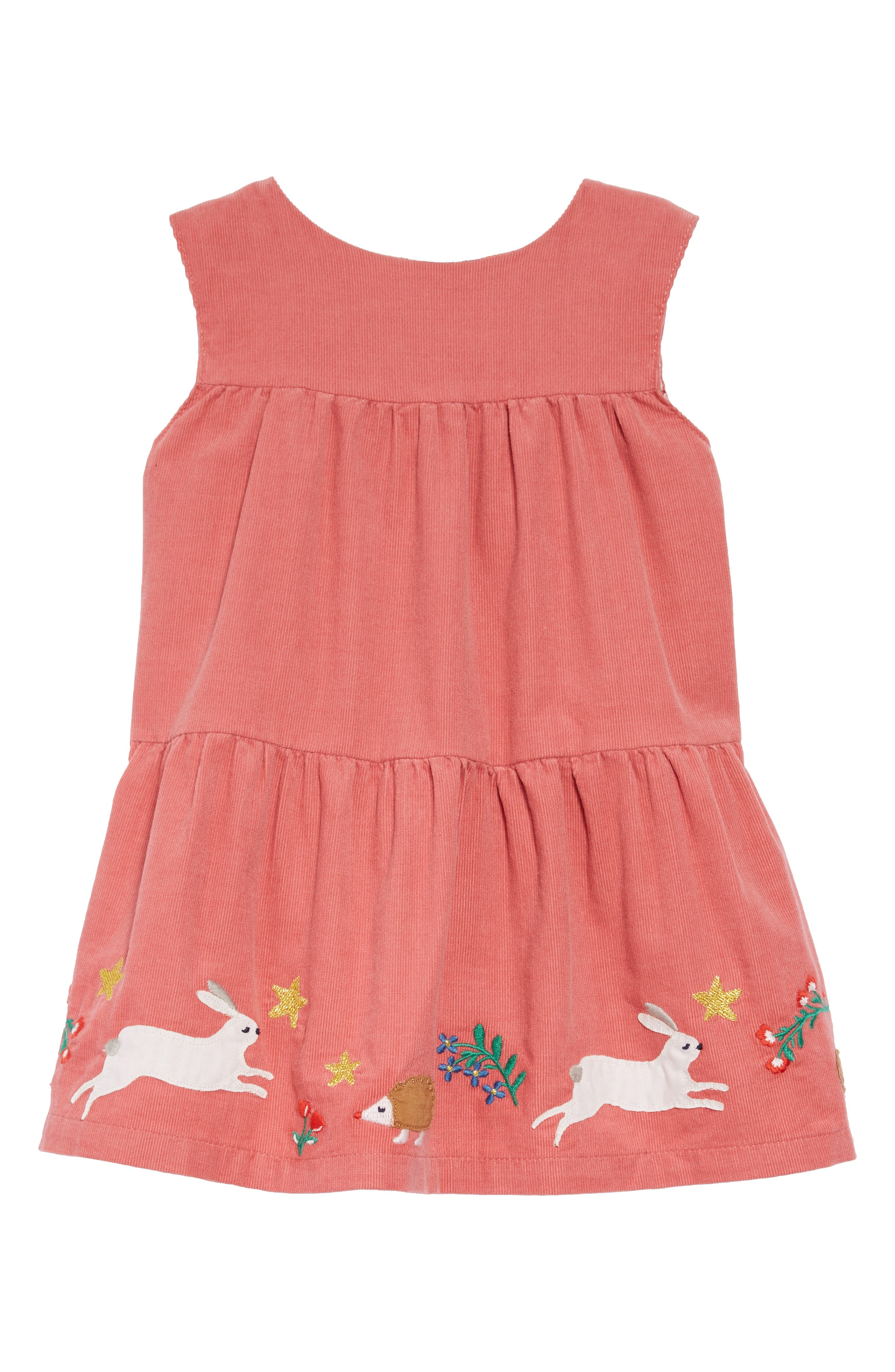 MINI BODEN Tiered Corduroy Dress, Main, color, 664