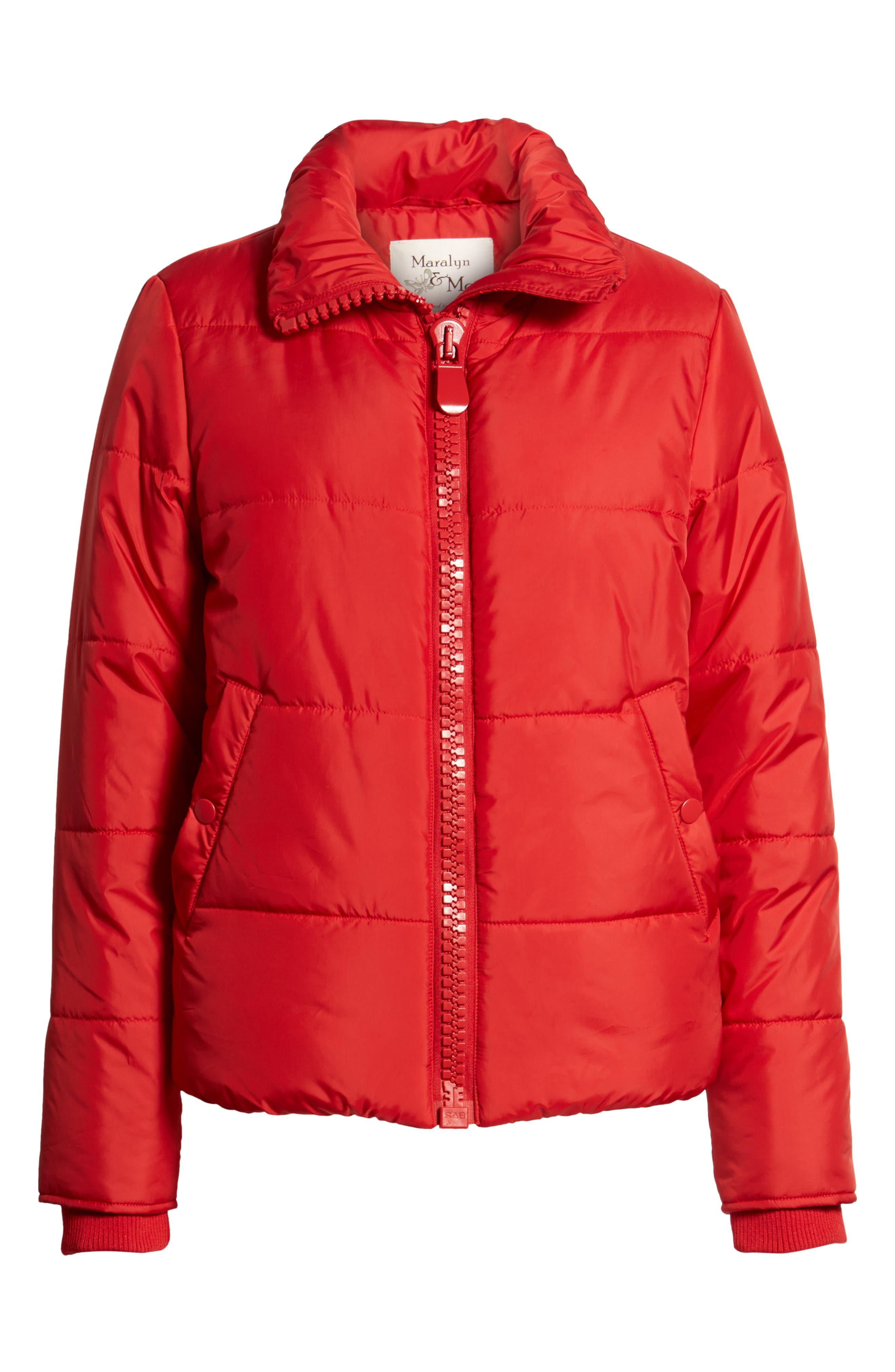 Rail Quilted Puffer Jacket,                             Alternate thumbnail 6, color,                             SPICE RED