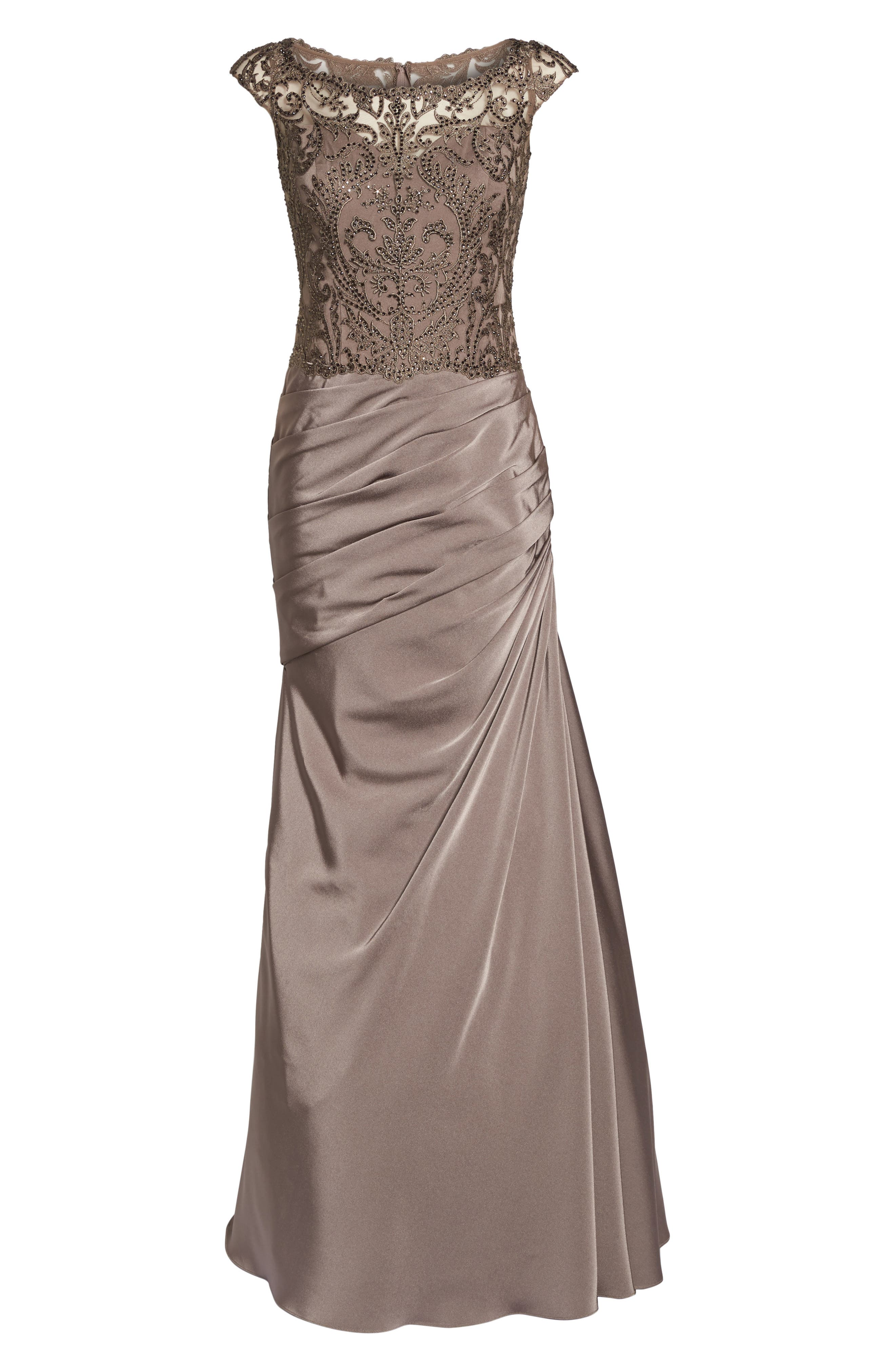 Beaded Lace Ruched Gown,                             Alternate thumbnail 6, color,                             COCOA