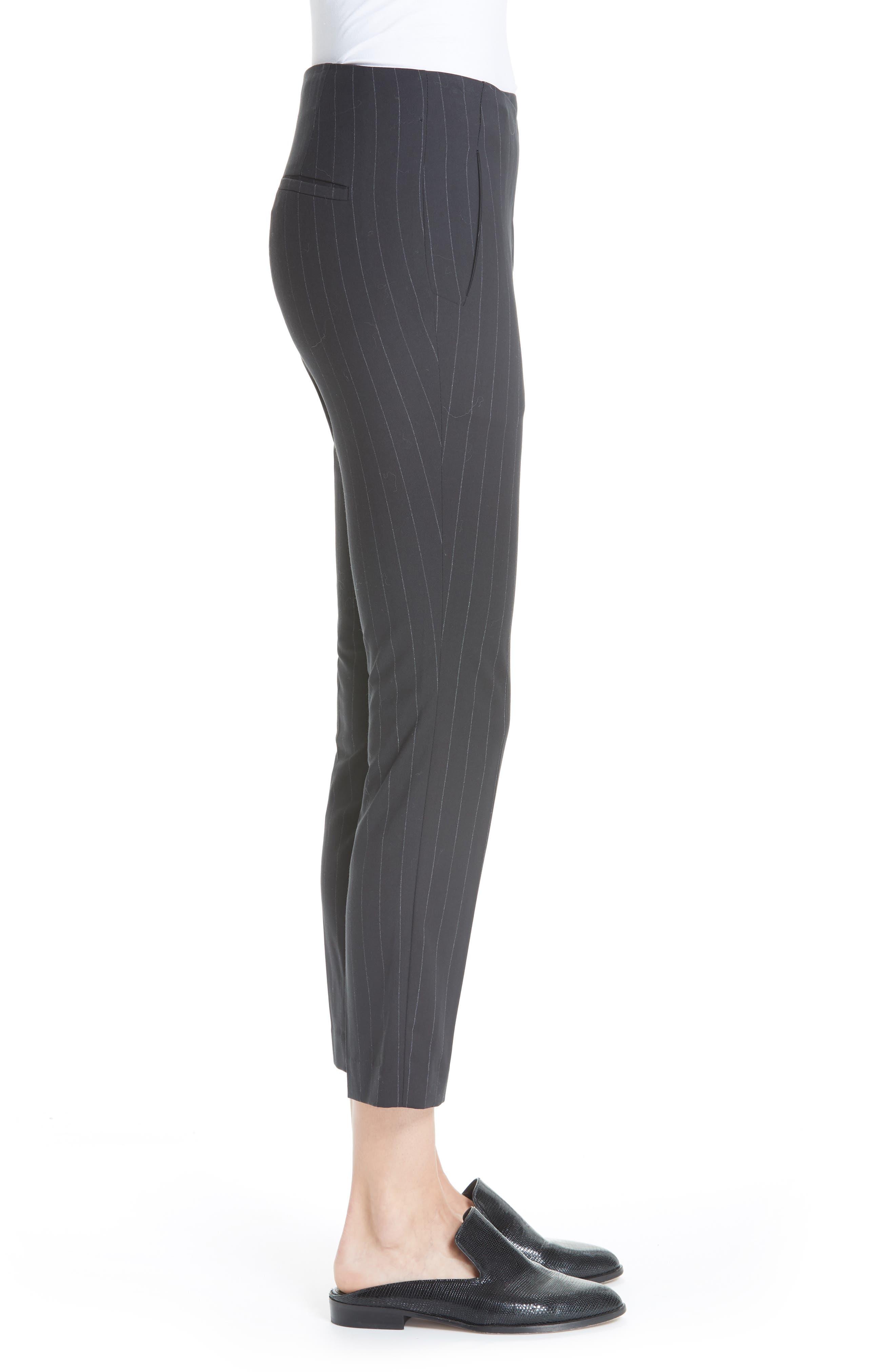Bango Pinstripe Crop Trousers,                             Alternate thumbnail 3, color,                             001