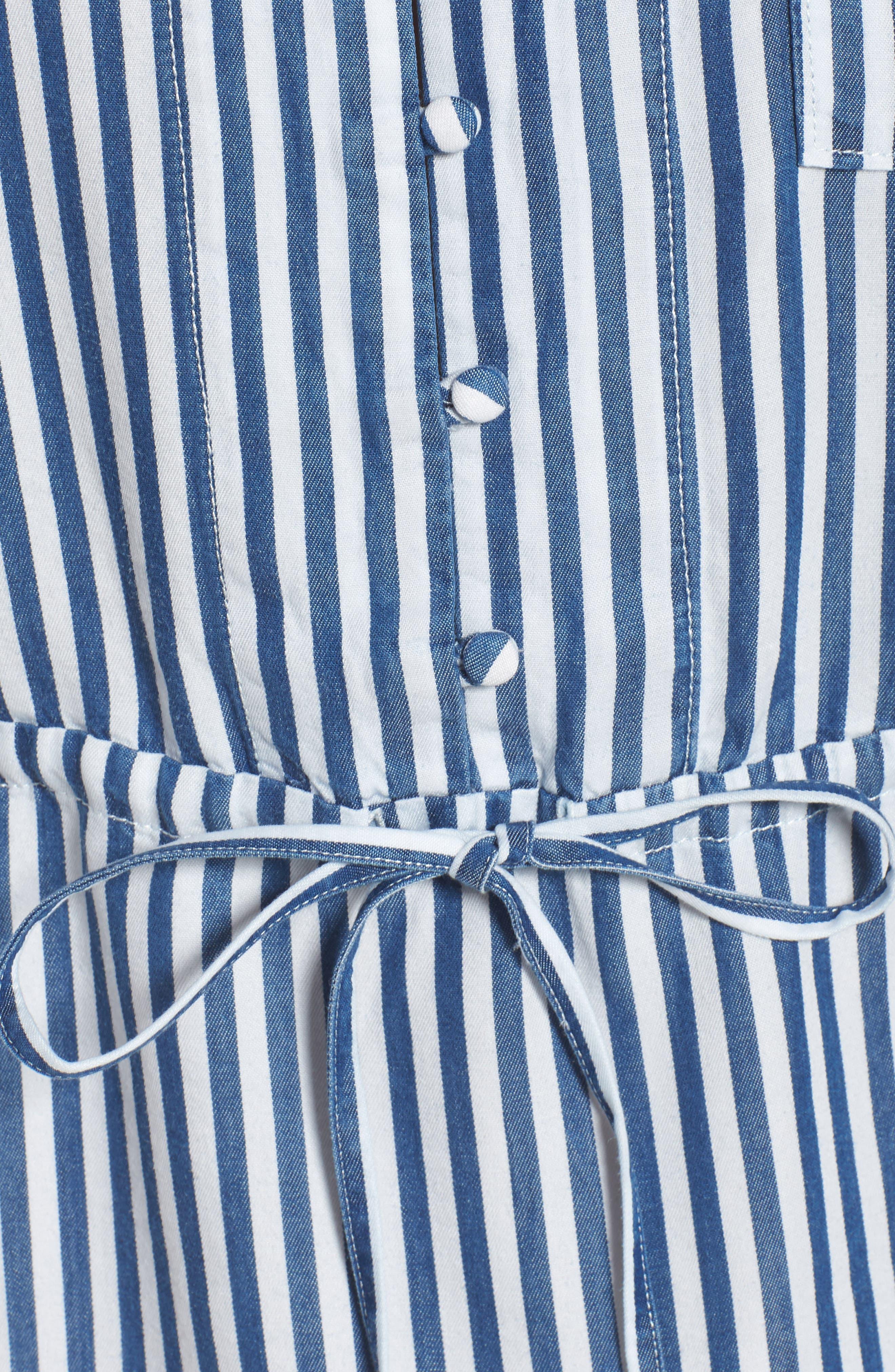 Haidee Stripe Shift Dress,                             Alternate thumbnail 6, color,                             WHITE/ BLUE BELL STRIPE