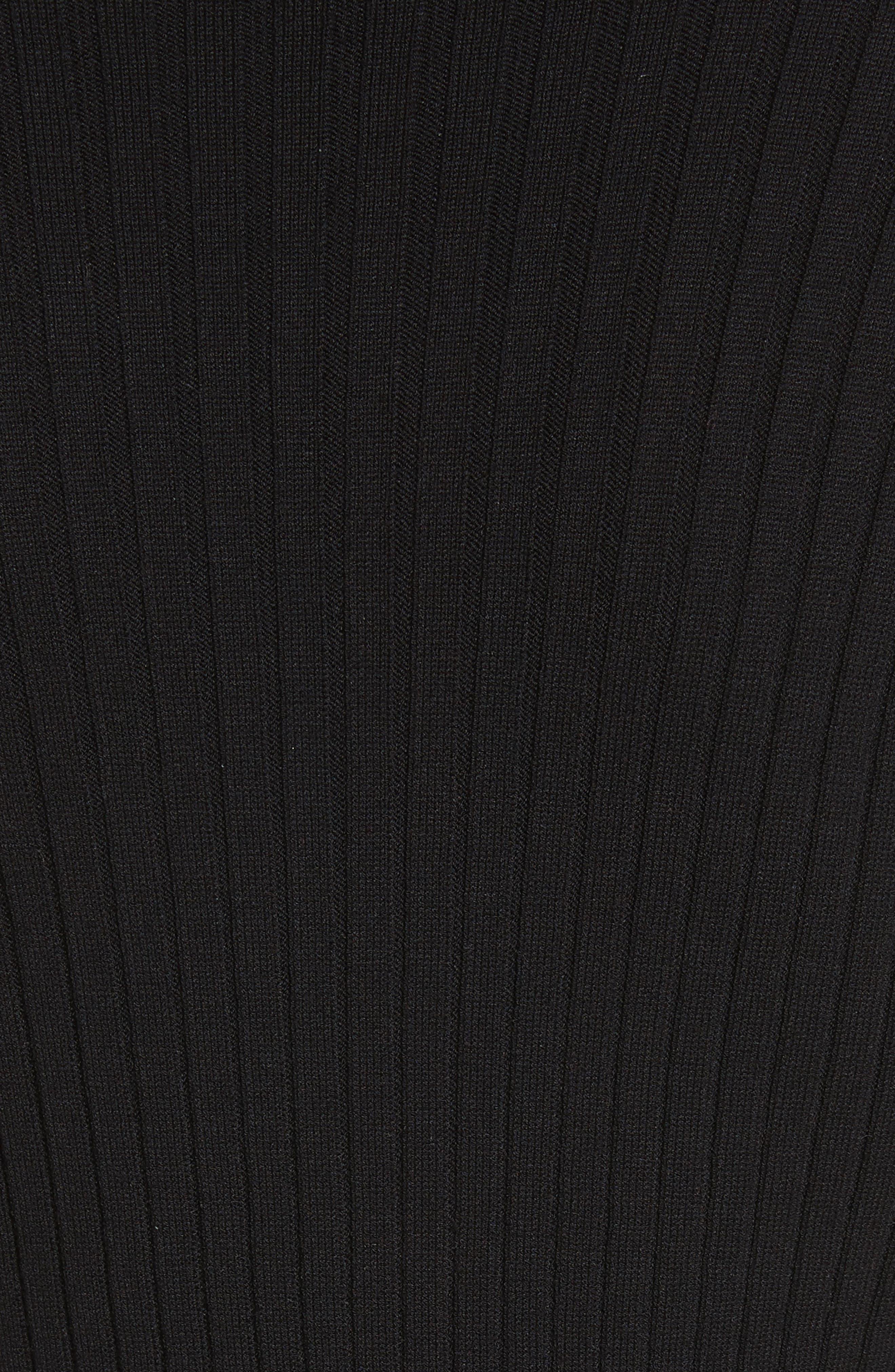 Flat Rib Knit Mock Neck Sweater,                             Alternate thumbnail 5, color,                             001