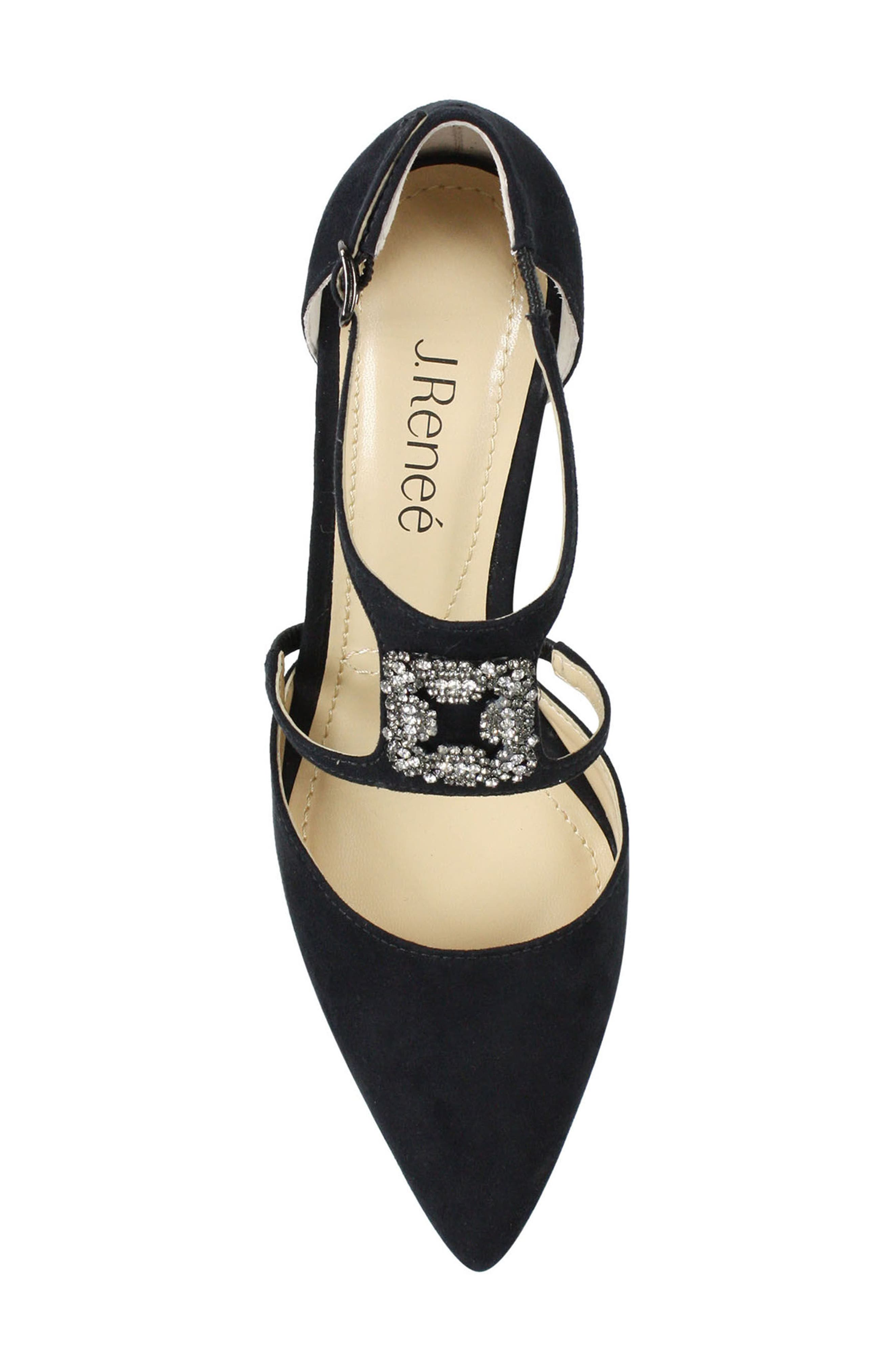 Halleigh Embellished Pointy Toe Pump,                             Alternate thumbnail 3, color,                             BLACK