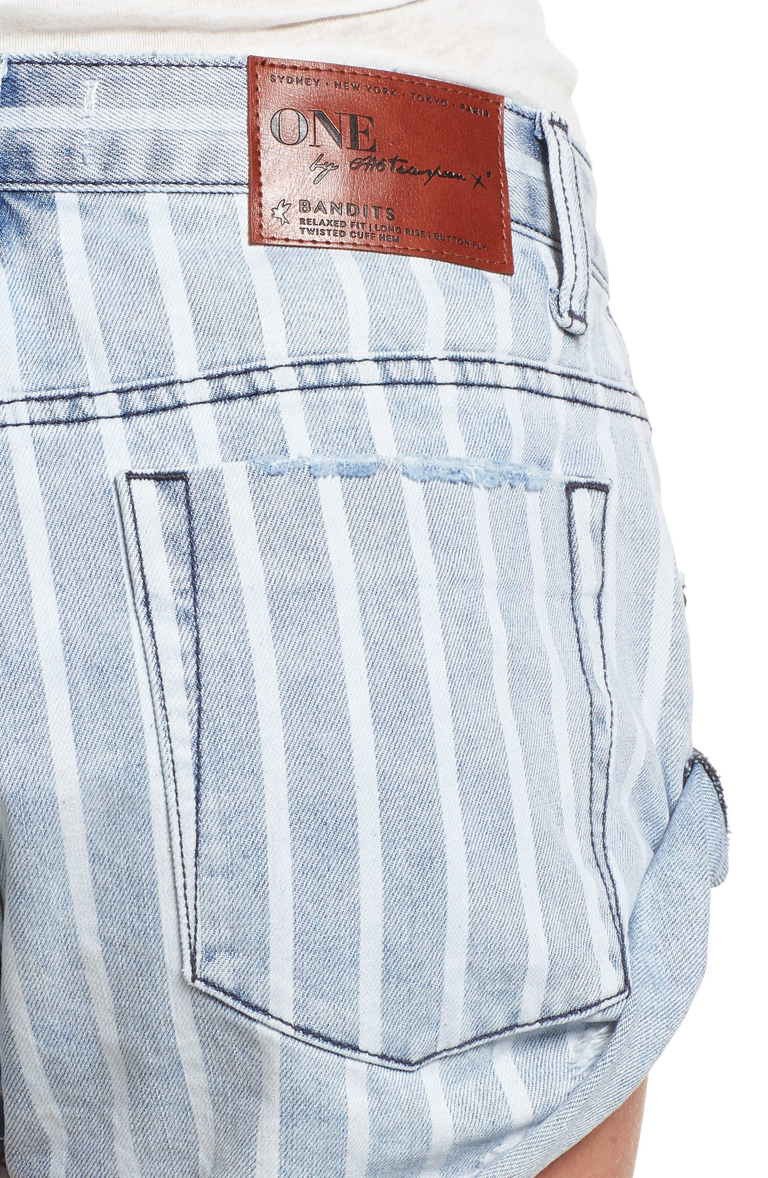 Bandit Stripe Denim Shorts,                             Alternate thumbnail 4, color,                             400