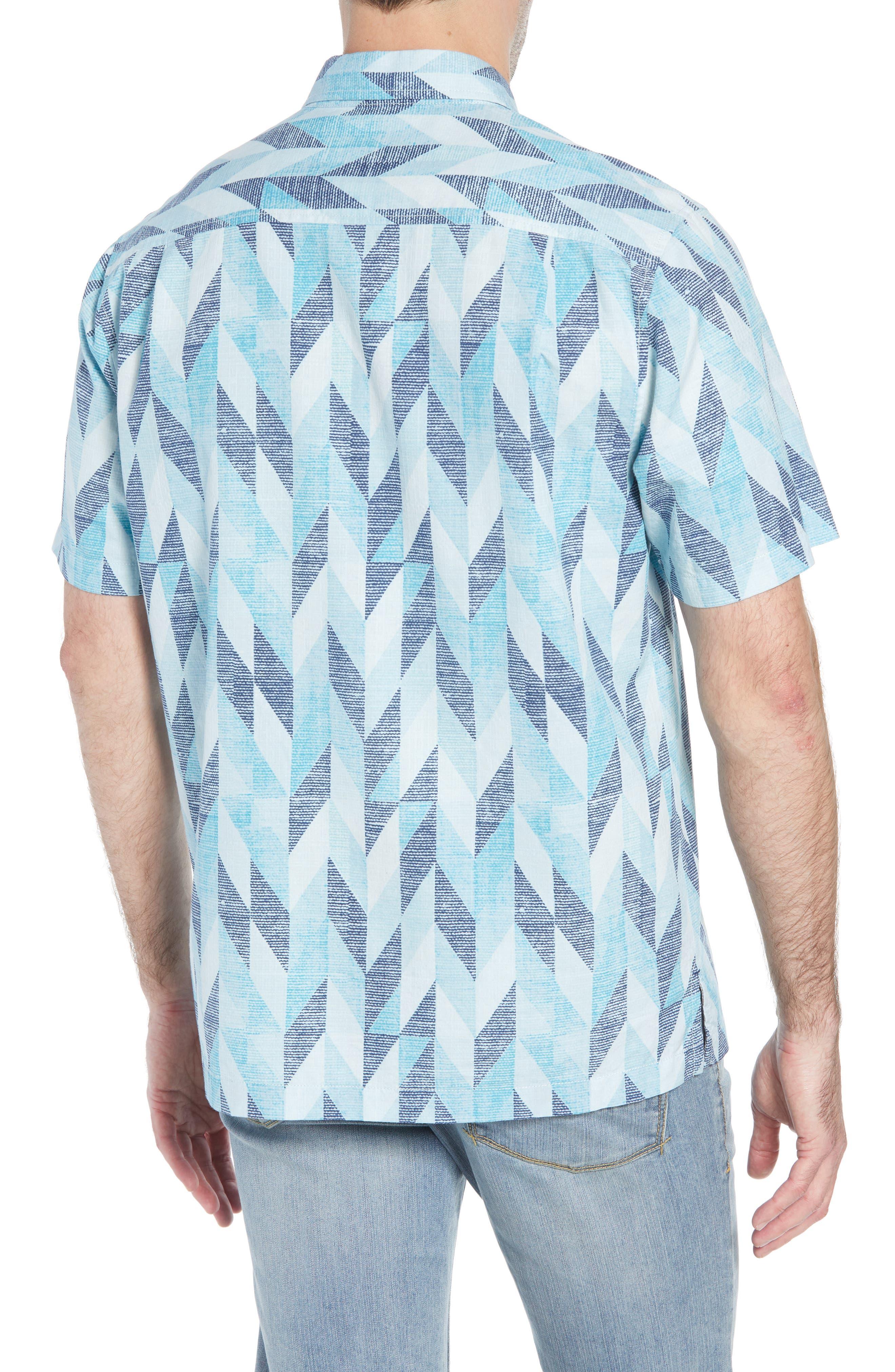Geo Celeste Sport Shirt,                             Alternate thumbnail 3, color,                             RIVIERA AZURE