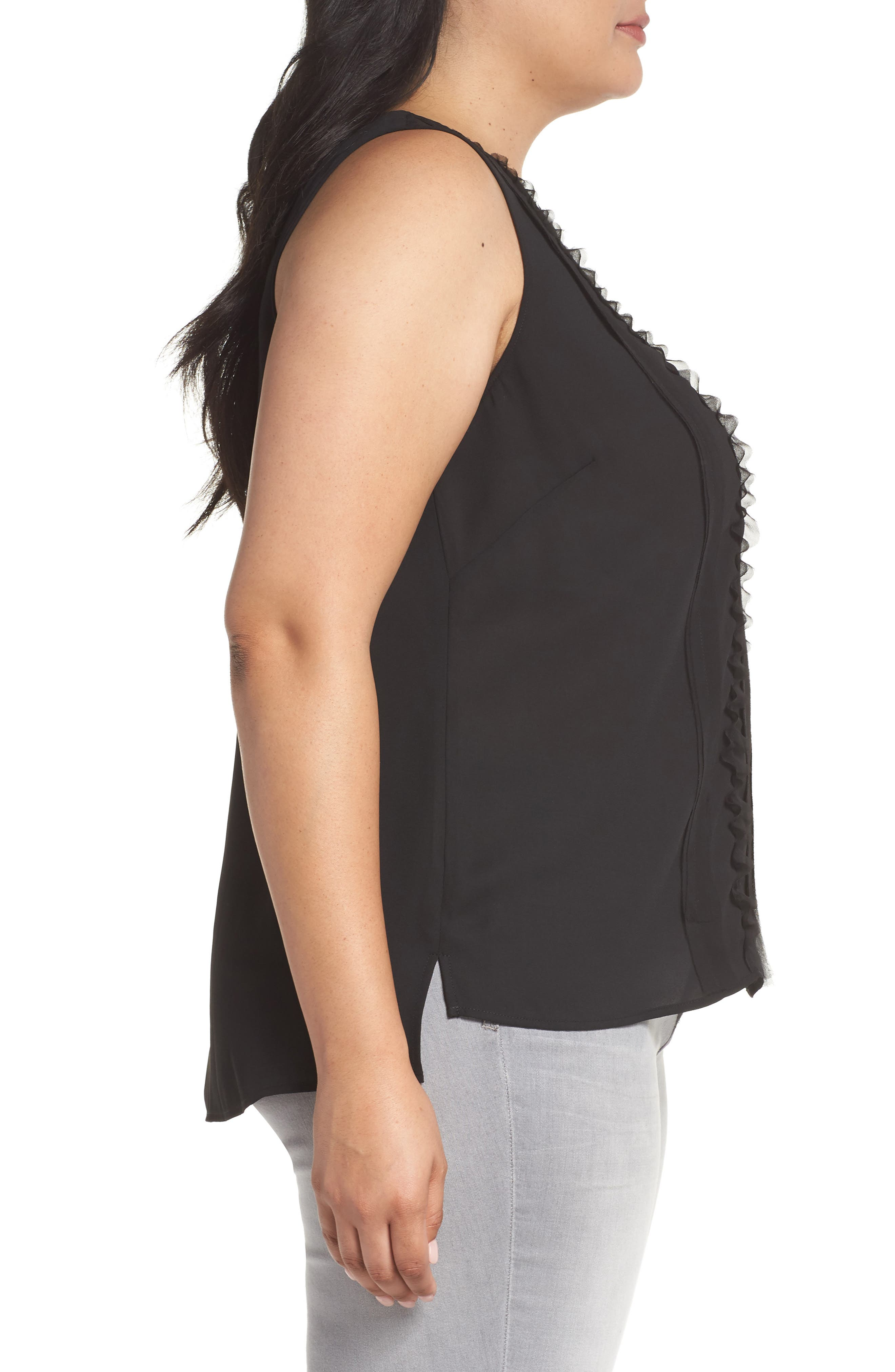 Ruffle Front Tank,                             Alternate thumbnail 3, color,                             001
